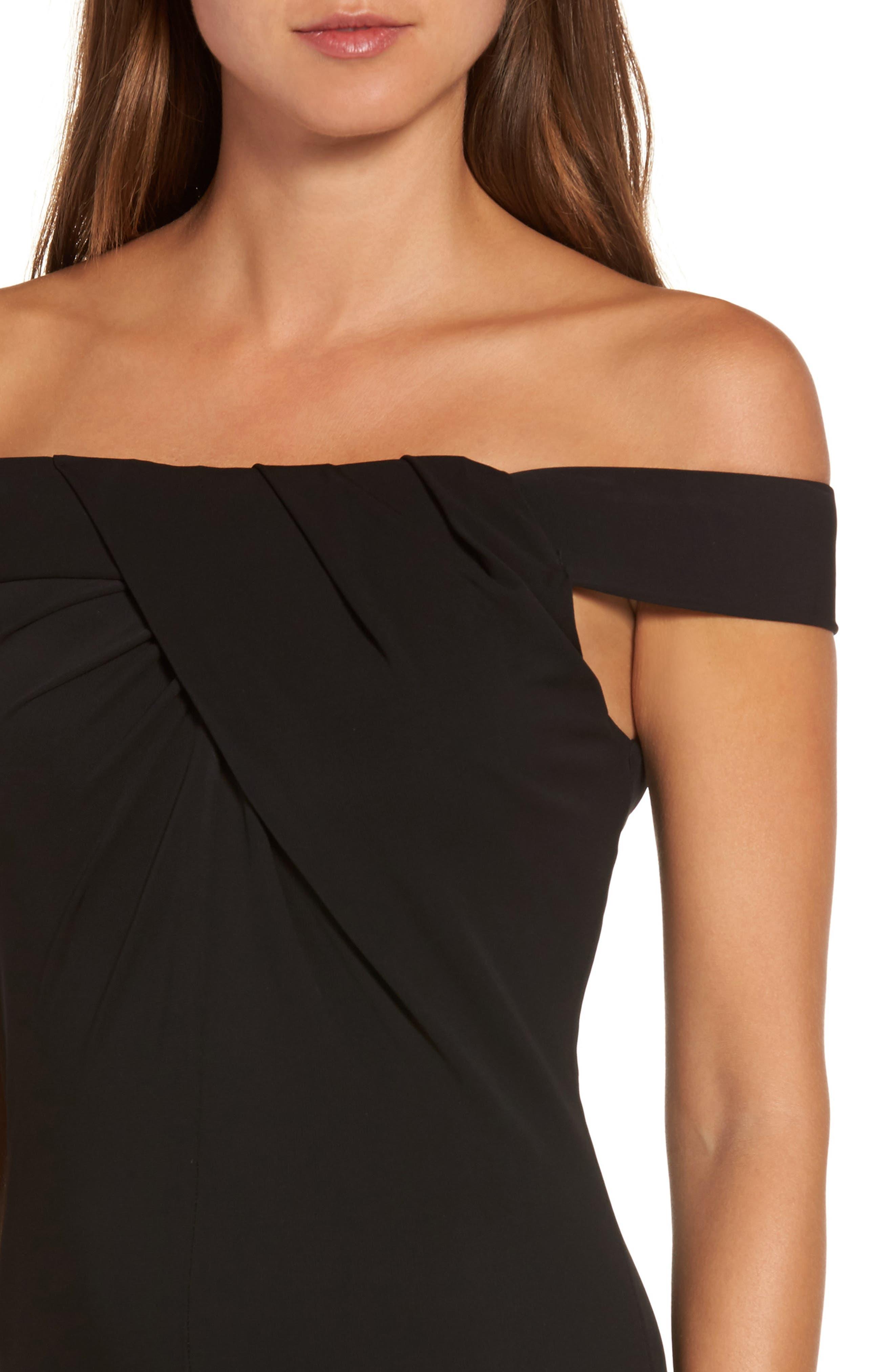 Off the Shoulder Body-Con Dress,                             Alternate thumbnail 4, color,                             001