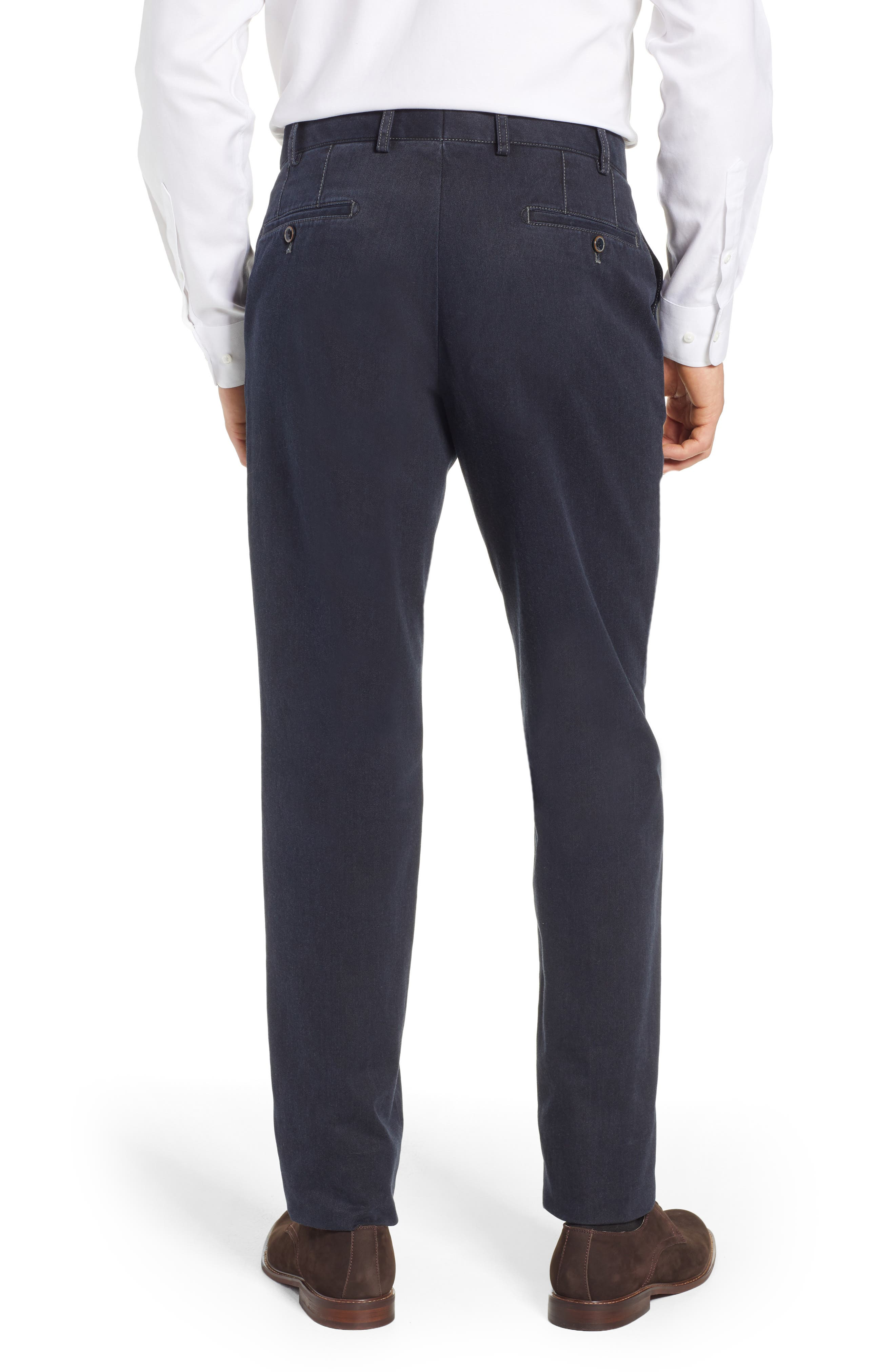 Pero Trim Fit Stretch Flat Front Cotton Blend Trousers,                             Alternate thumbnail 2, color,                             CHARCOAL