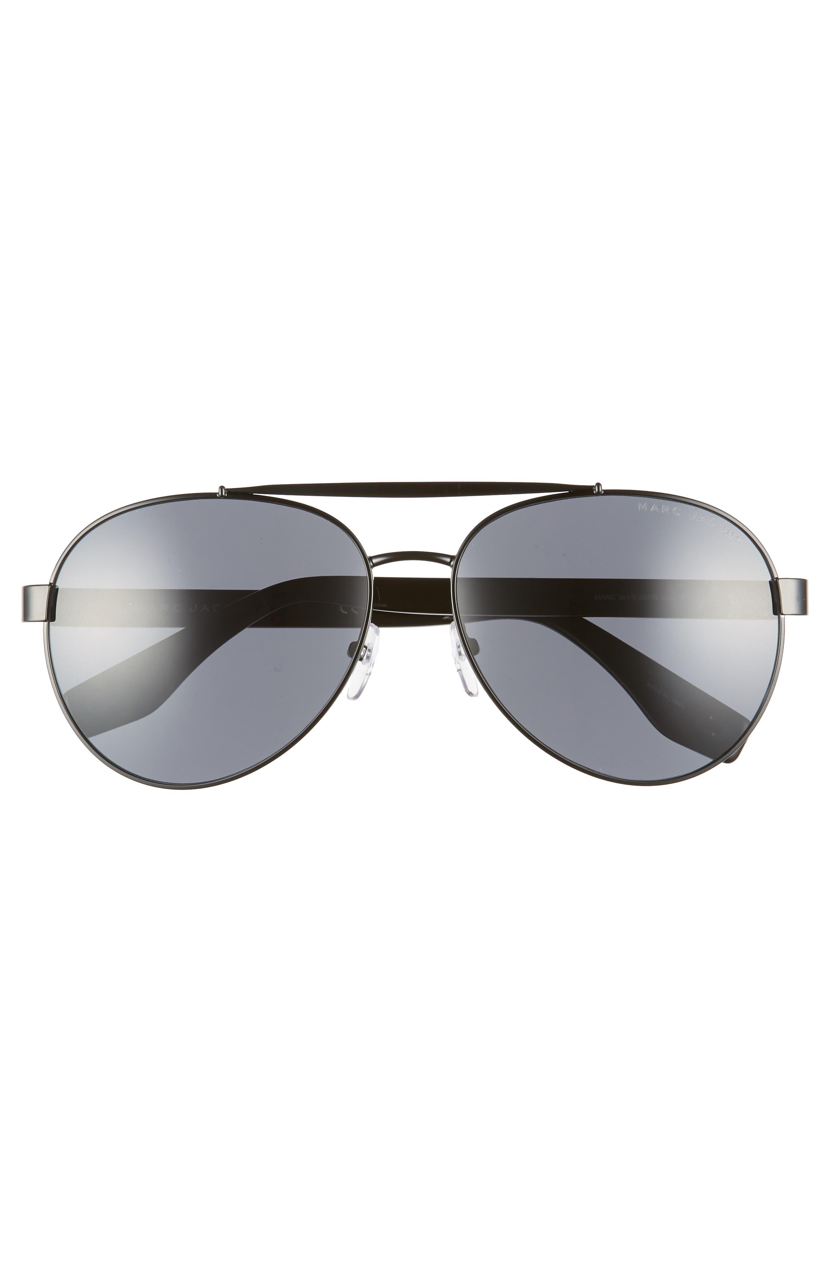 60mm Aviator Sunglasses,                             Alternate thumbnail 3, color,                             BLACK