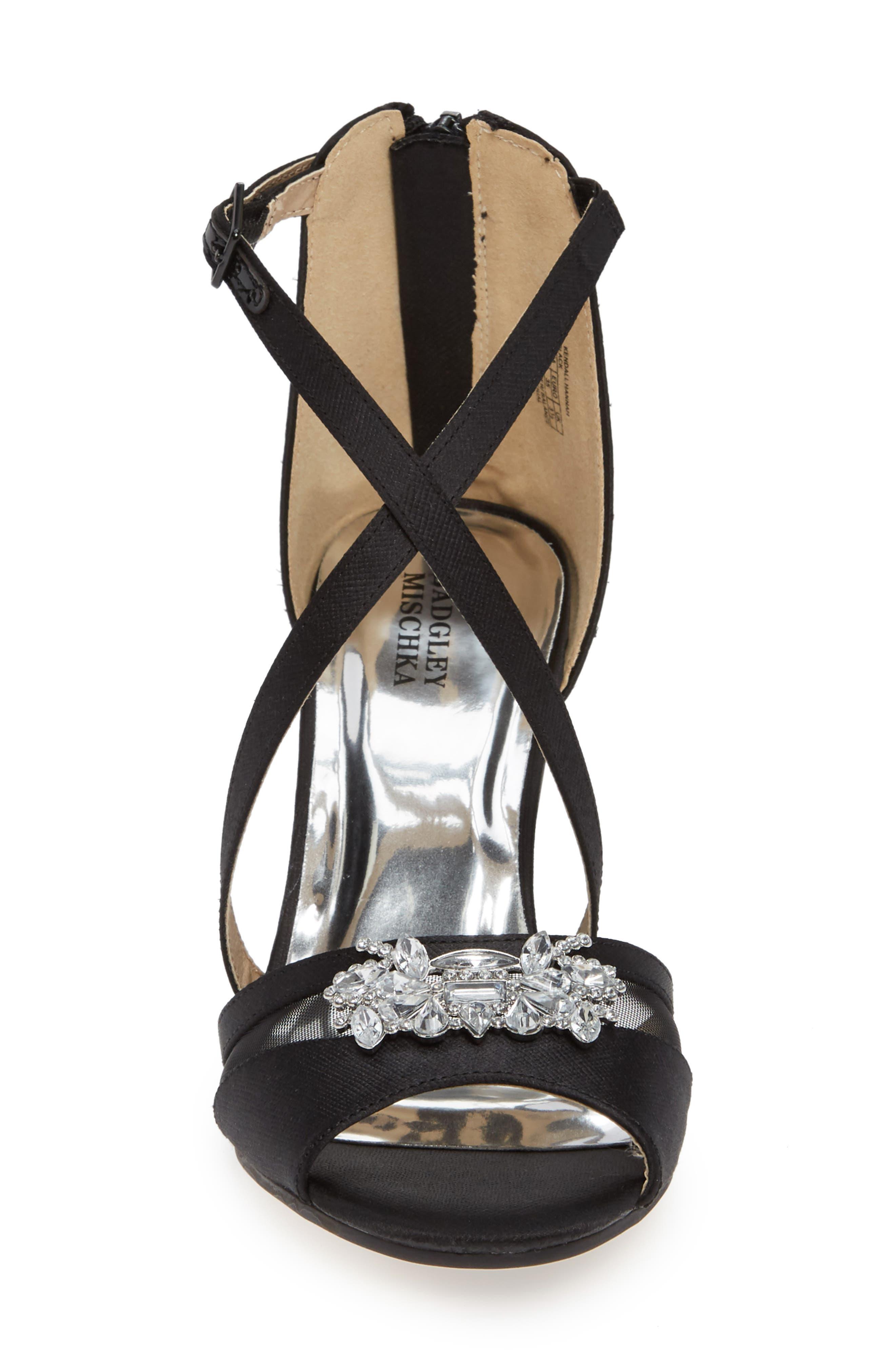 Badgley Mischka Kandall Hannah Embellished Cross Strap Sandal,                             Alternate thumbnail 4, color,                             BLACK SATIN