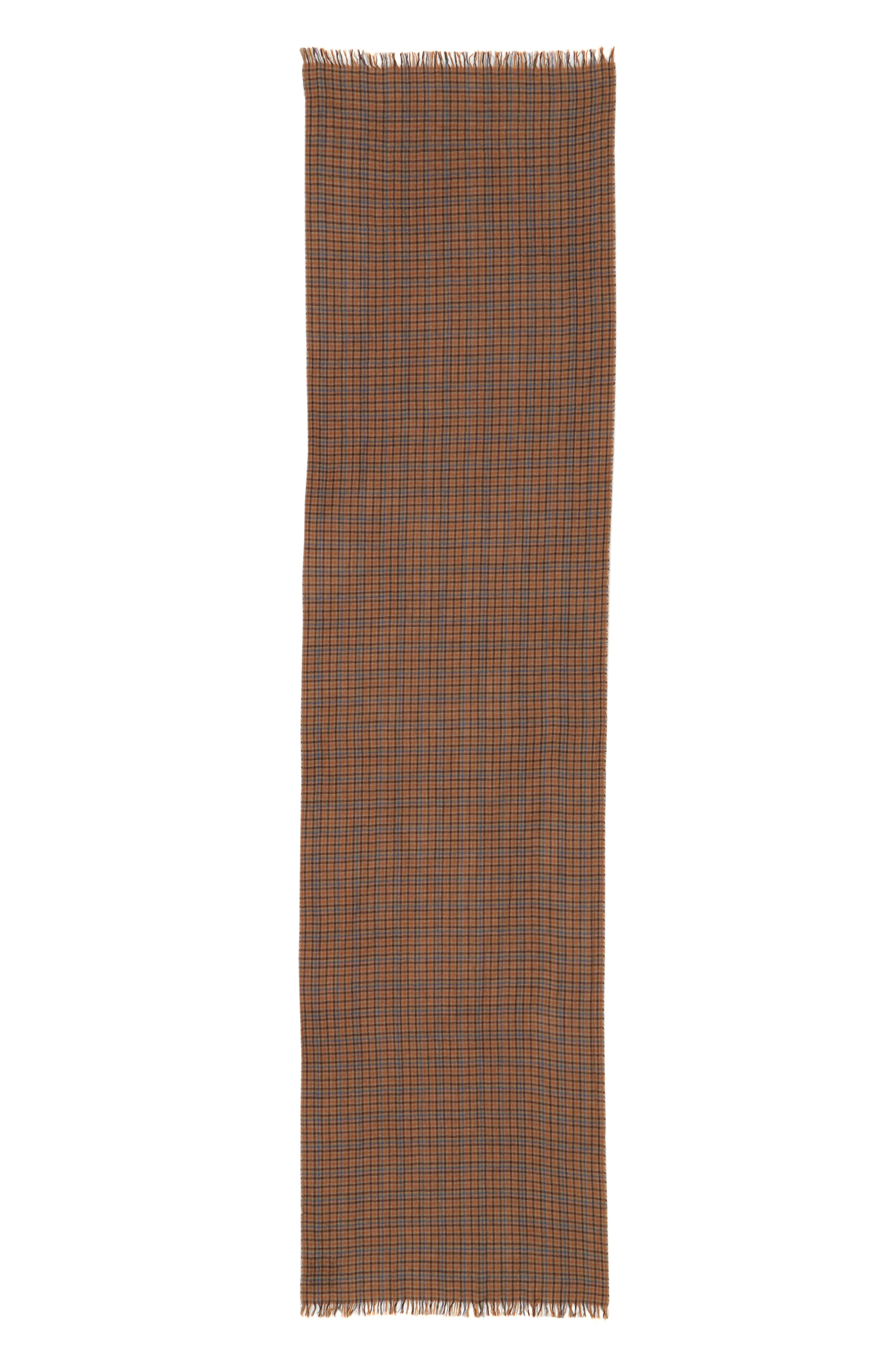 Drakes Plaid Merino Wool Scarf,                             Alternate thumbnail 2, color,                             BROWN CHECK