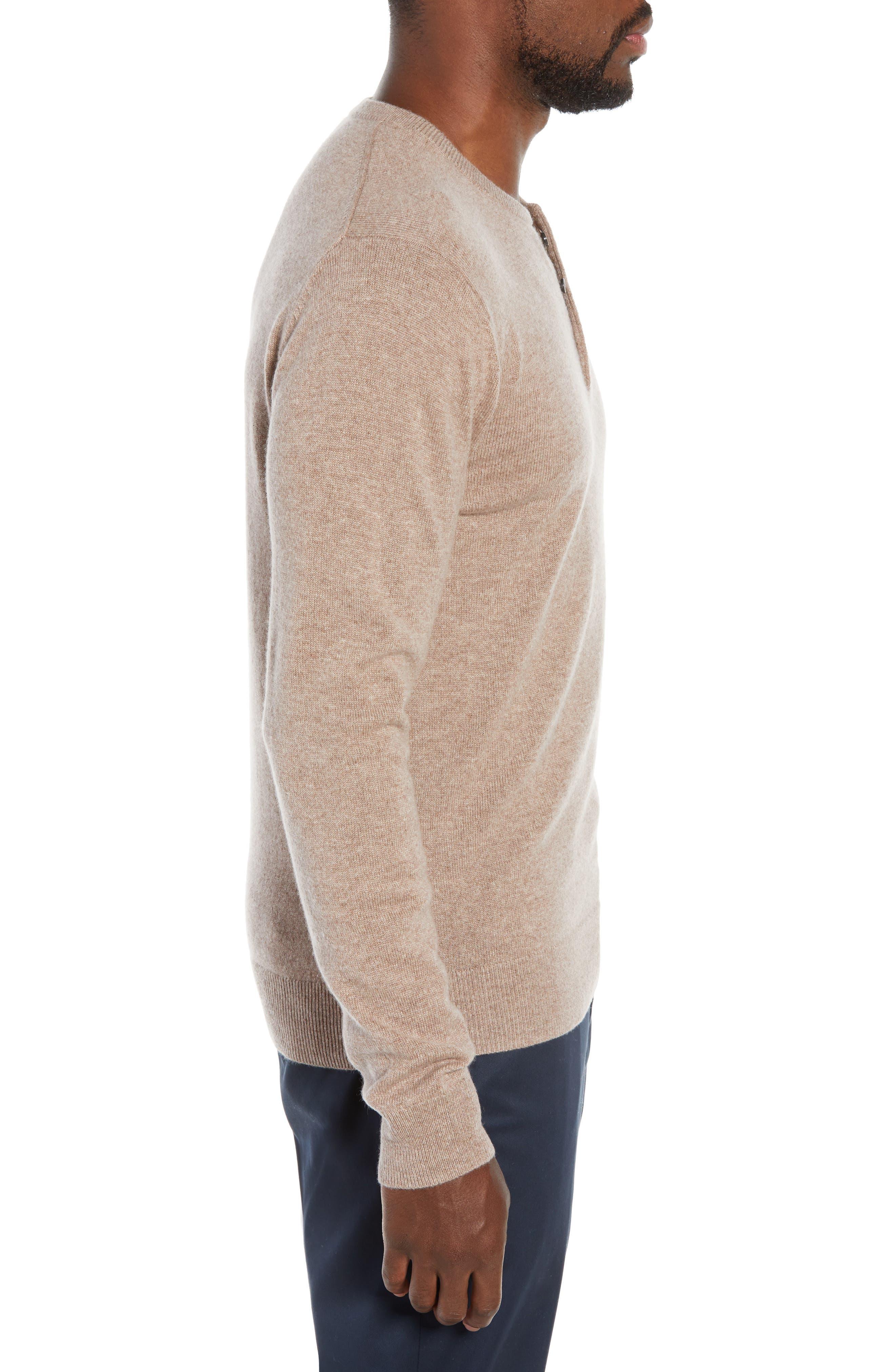Slim Fit Cashmere Henley Sweater,                             Alternate thumbnail 3, color,                             200