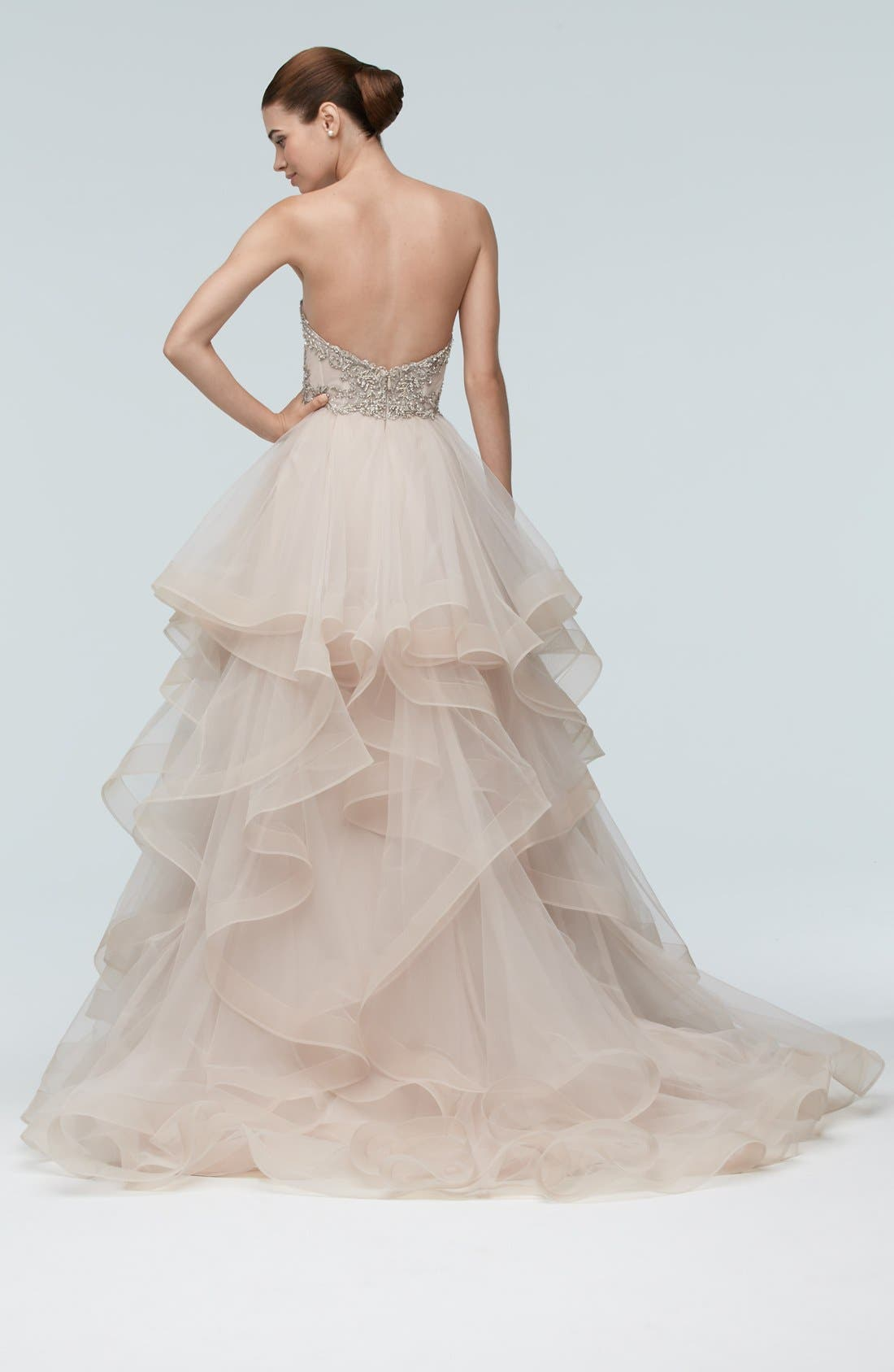 Meri Embellished Strapless Layered Tulle Gown,                             Alternate thumbnail 2, color,                             OATMEAL/METALLIC