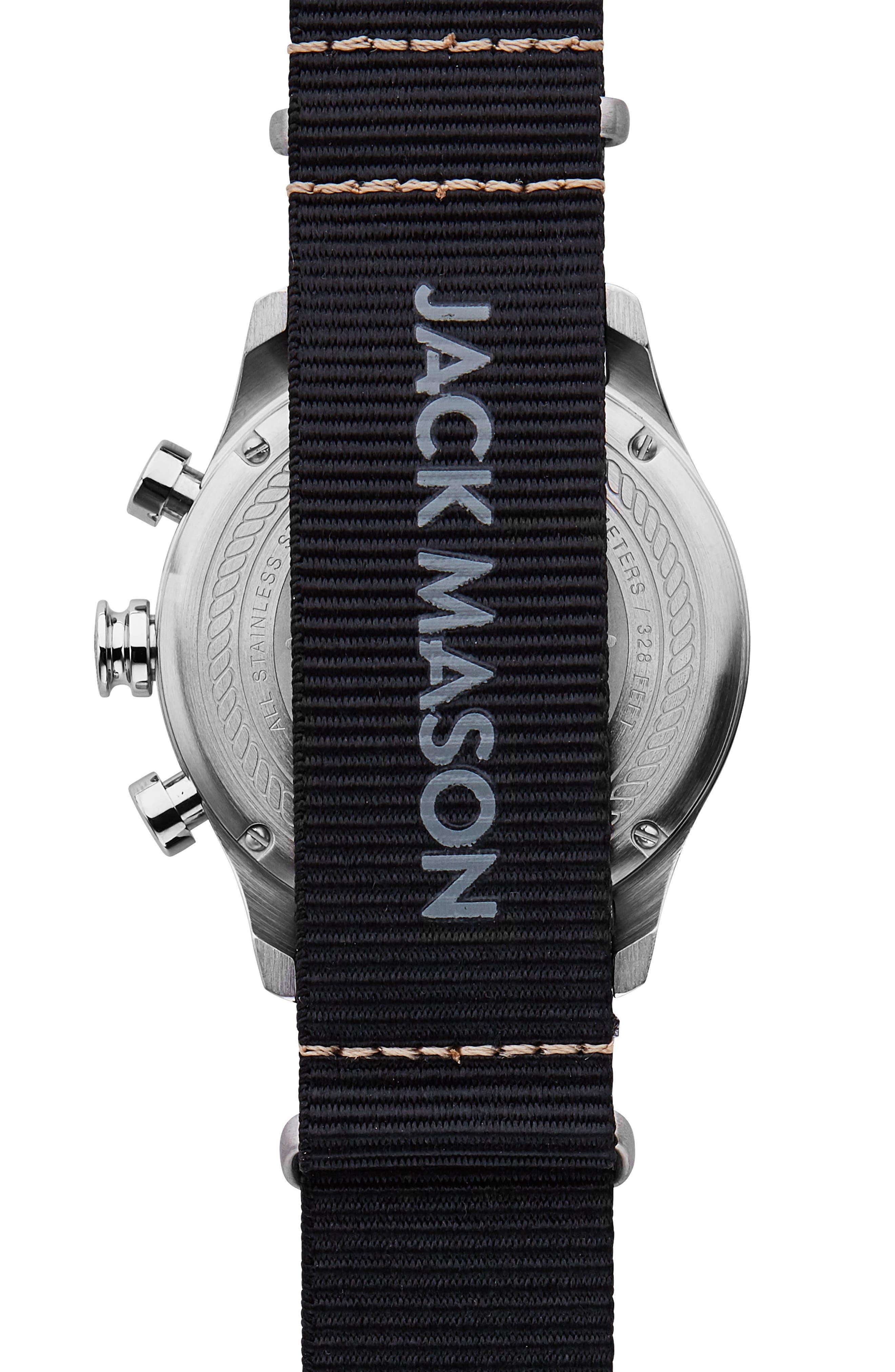 Nautical Chronograph Nato Strap Watch, 42mm,                             Alternate thumbnail 2, color,                             WHITE/ BLACK