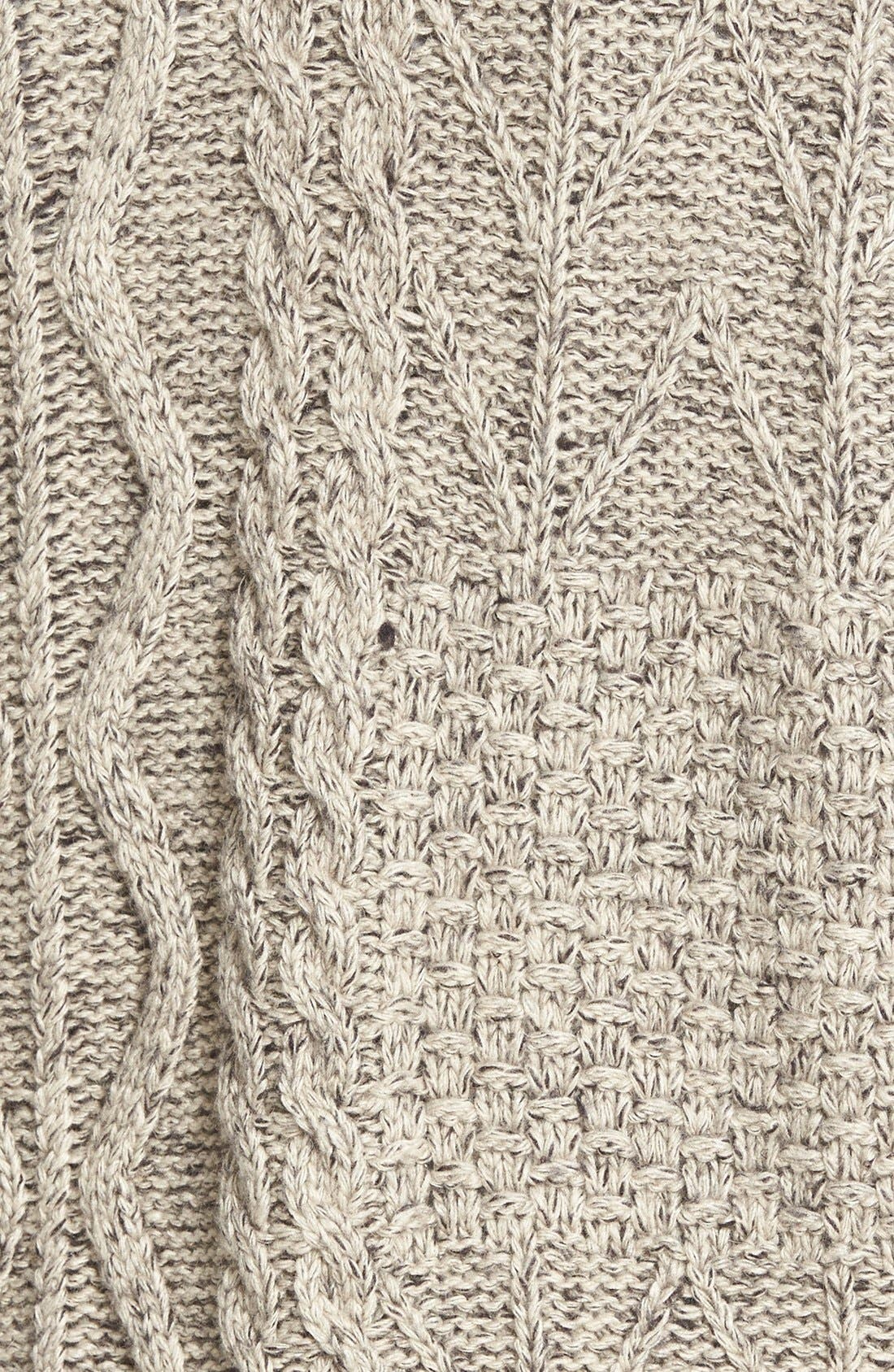Marled Panel Stitch Open Front Cardigan,                             Alternate thumbnail 3, color,                             250