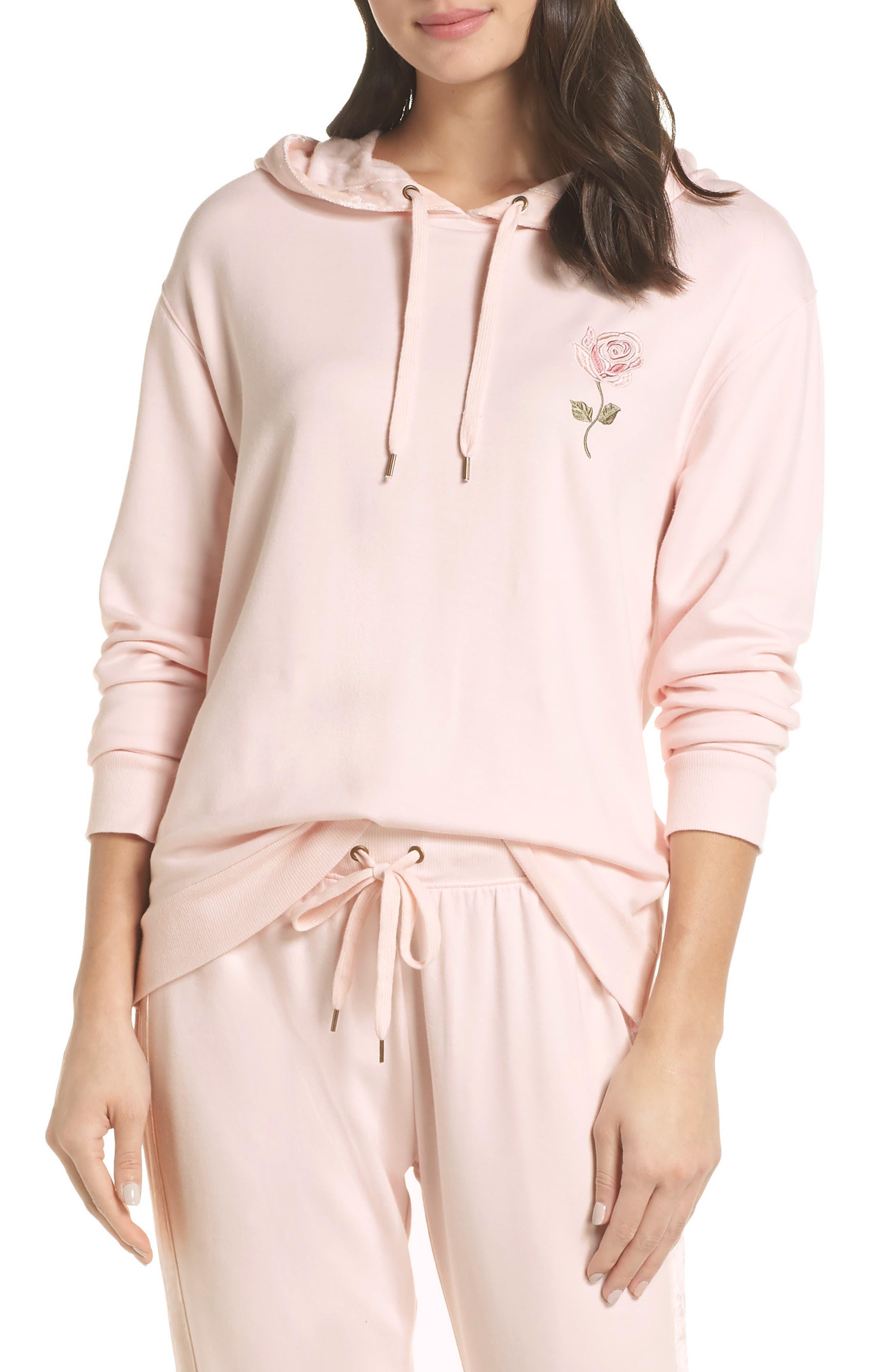 Splendid Gathered Back Hoodie Pajama Top, Pink