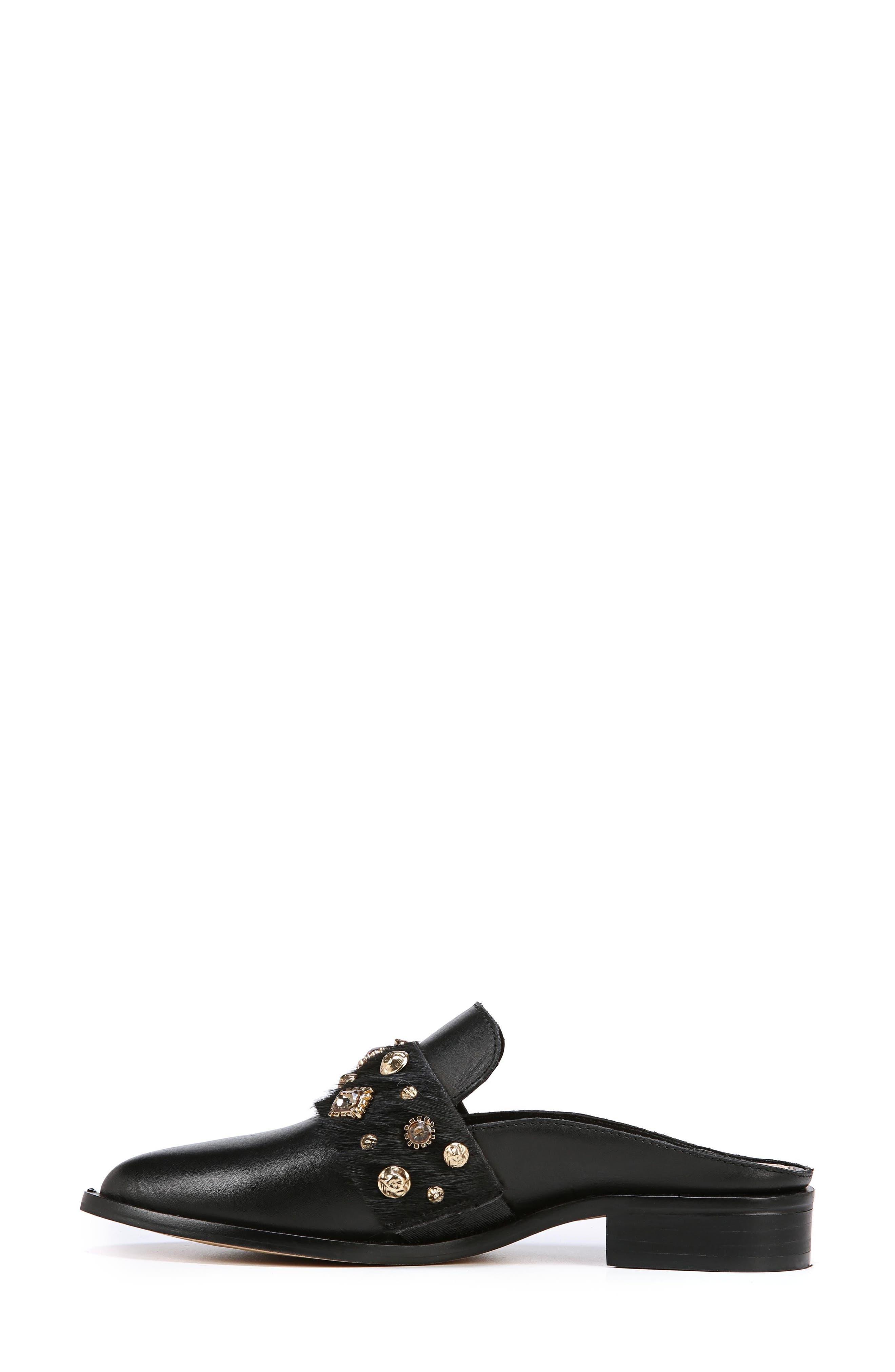 Laird Genuine Calf Hair Trim Loafer Mule,                             Alternate thumbnail 6, color,                             BLACK