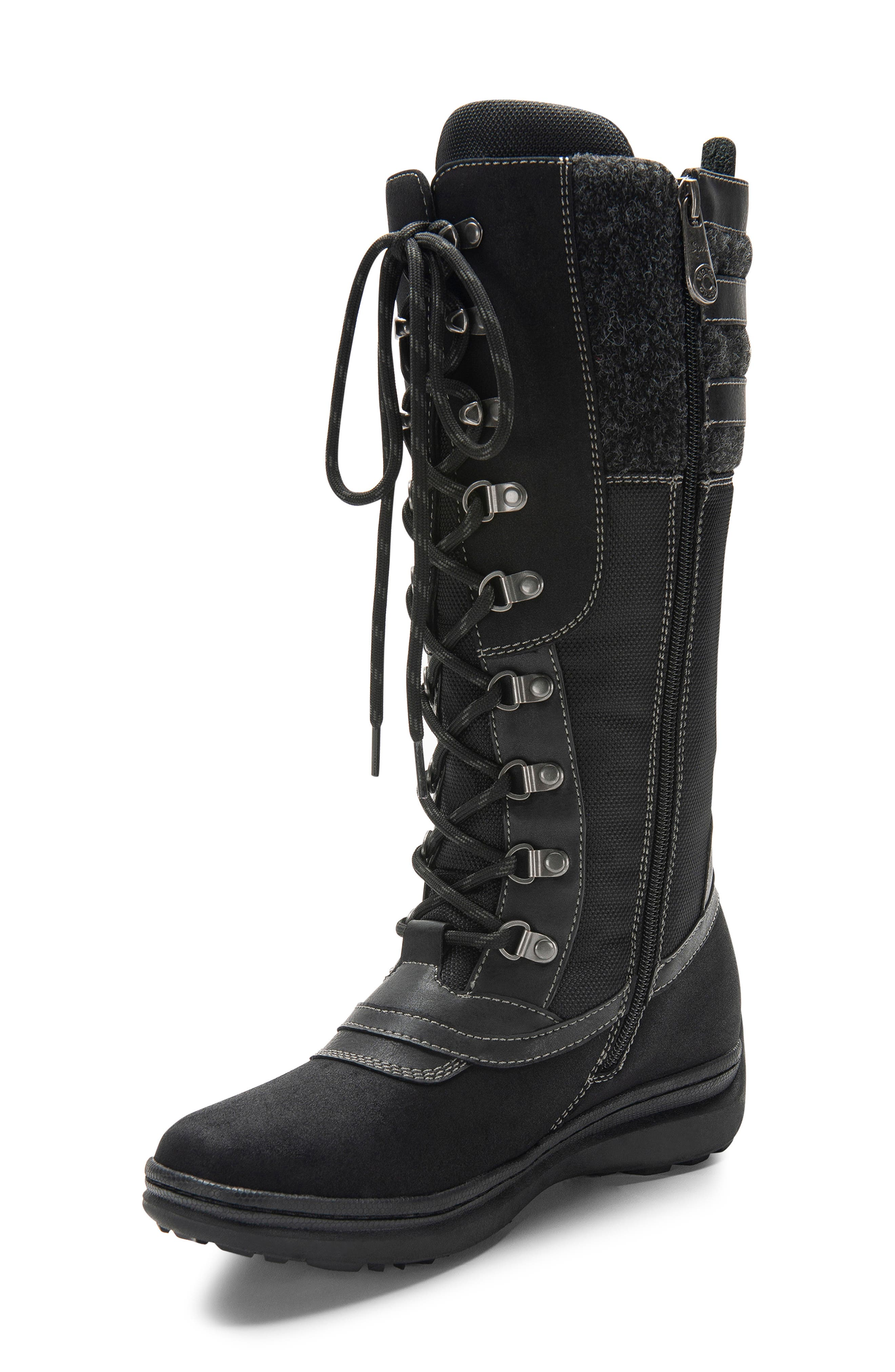 India Waterproof Snow Boot,                             Main thumbnail 1, color,                             BLACK LEATHER
