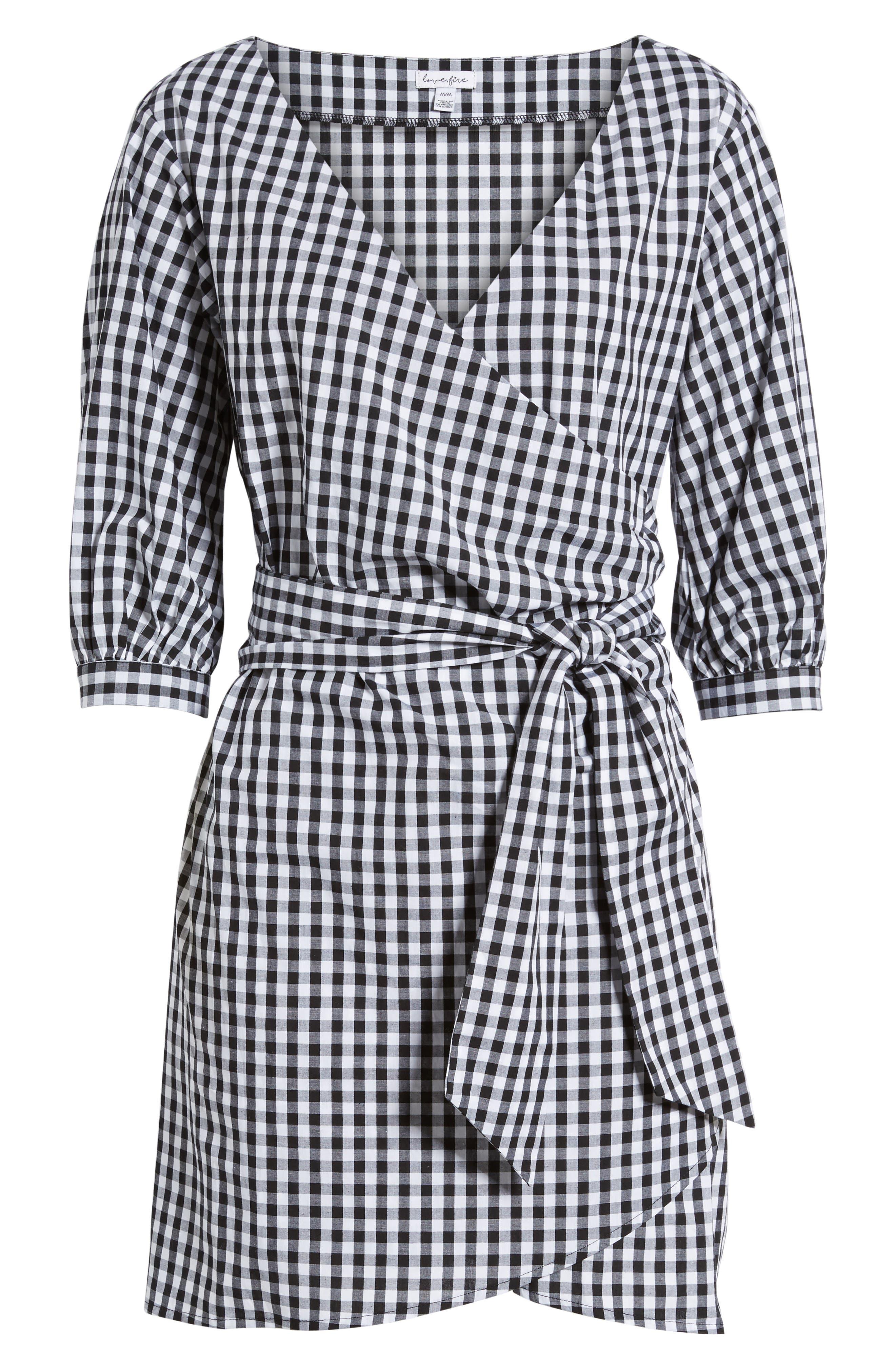 Cotton Poplin Wrap Dress,                             Alternate thumbnail 6, color,                             001