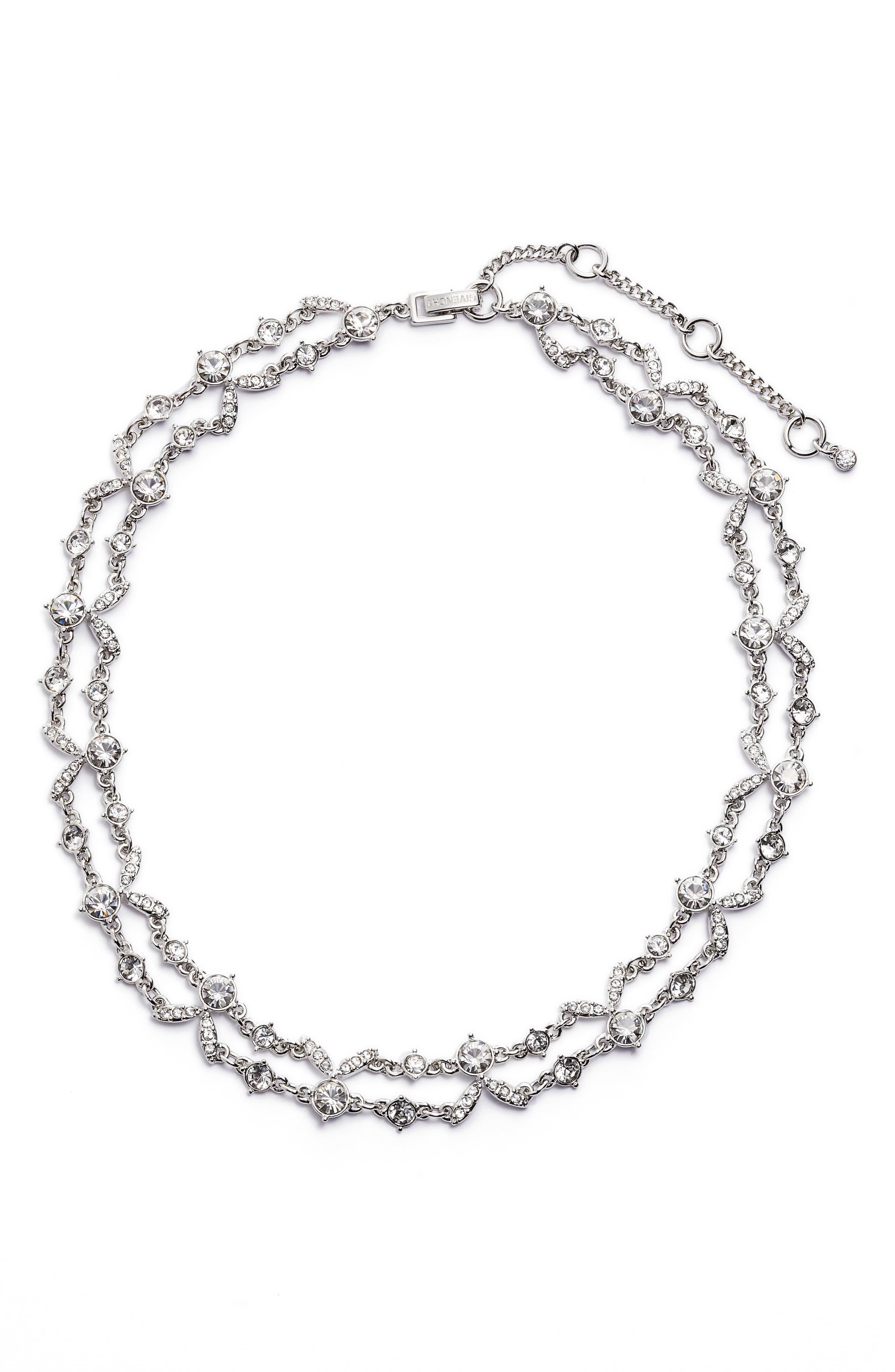 2-Row Crystal Collar Necklace,                             Main thumbnail 1, color,                             040