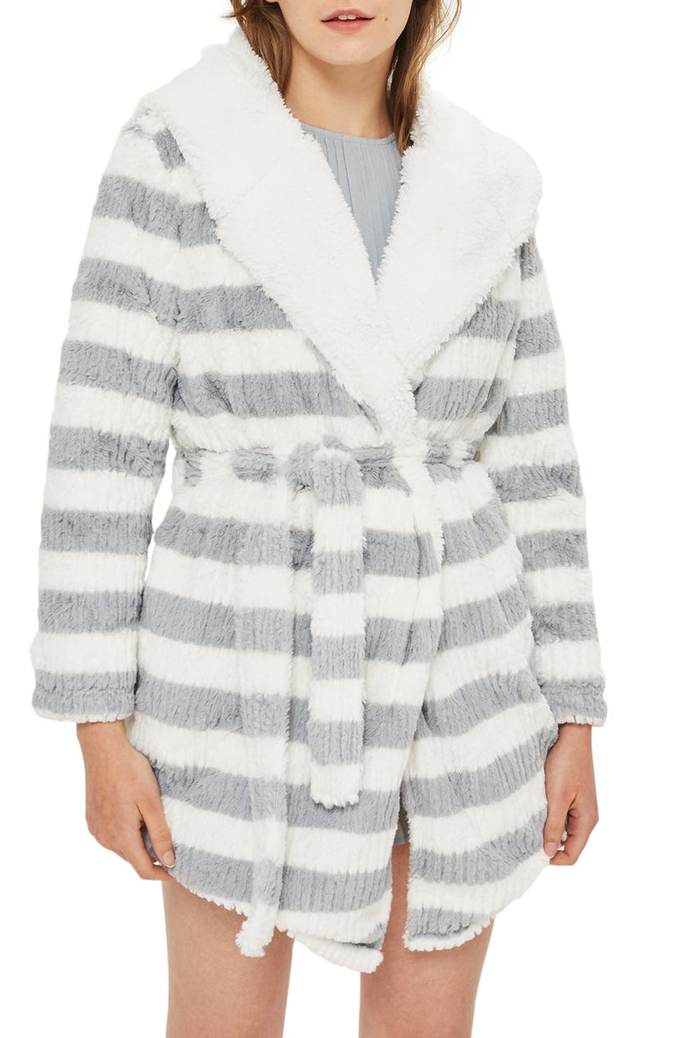 Stripe Short Robe,                             Main thumbnail 1, color,                             020