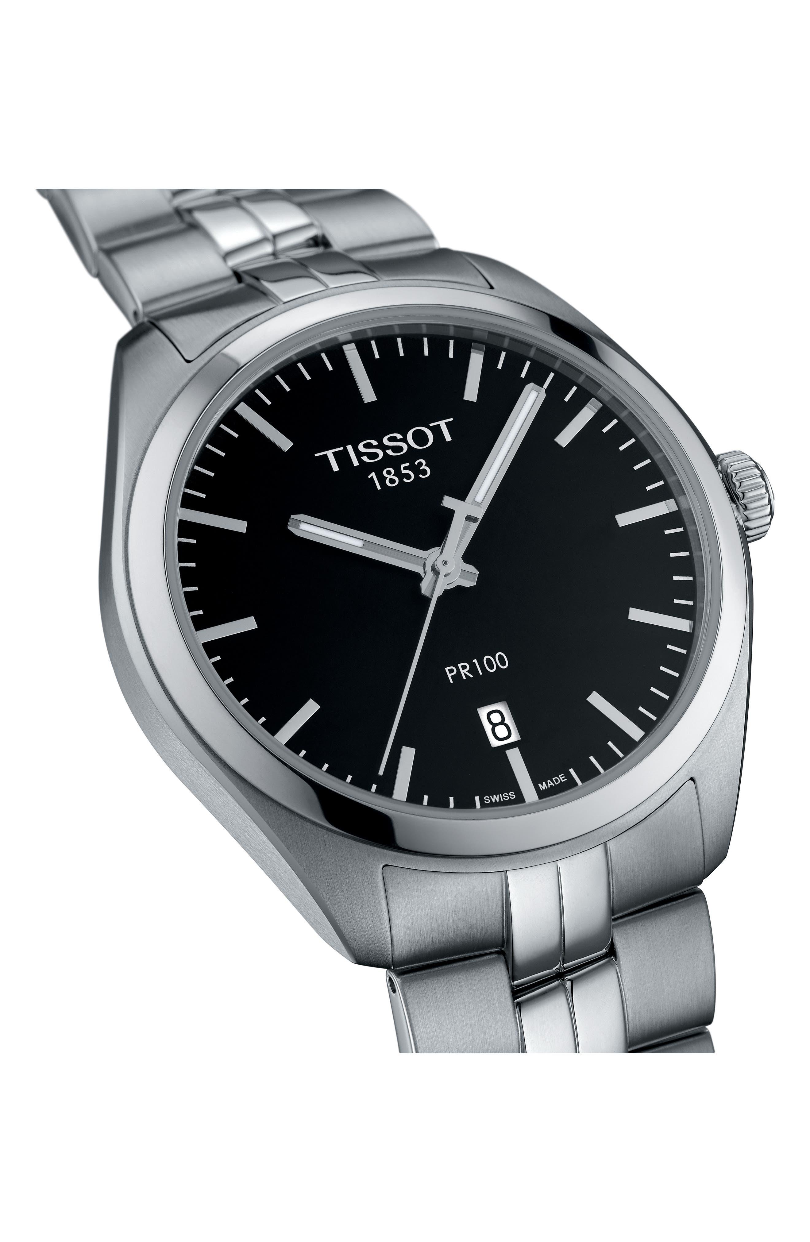 PR100 Bracelet Watch, 39mm,                             Alternate thumbnail 2, color,                             SILVER/ BLACK/ SILVER