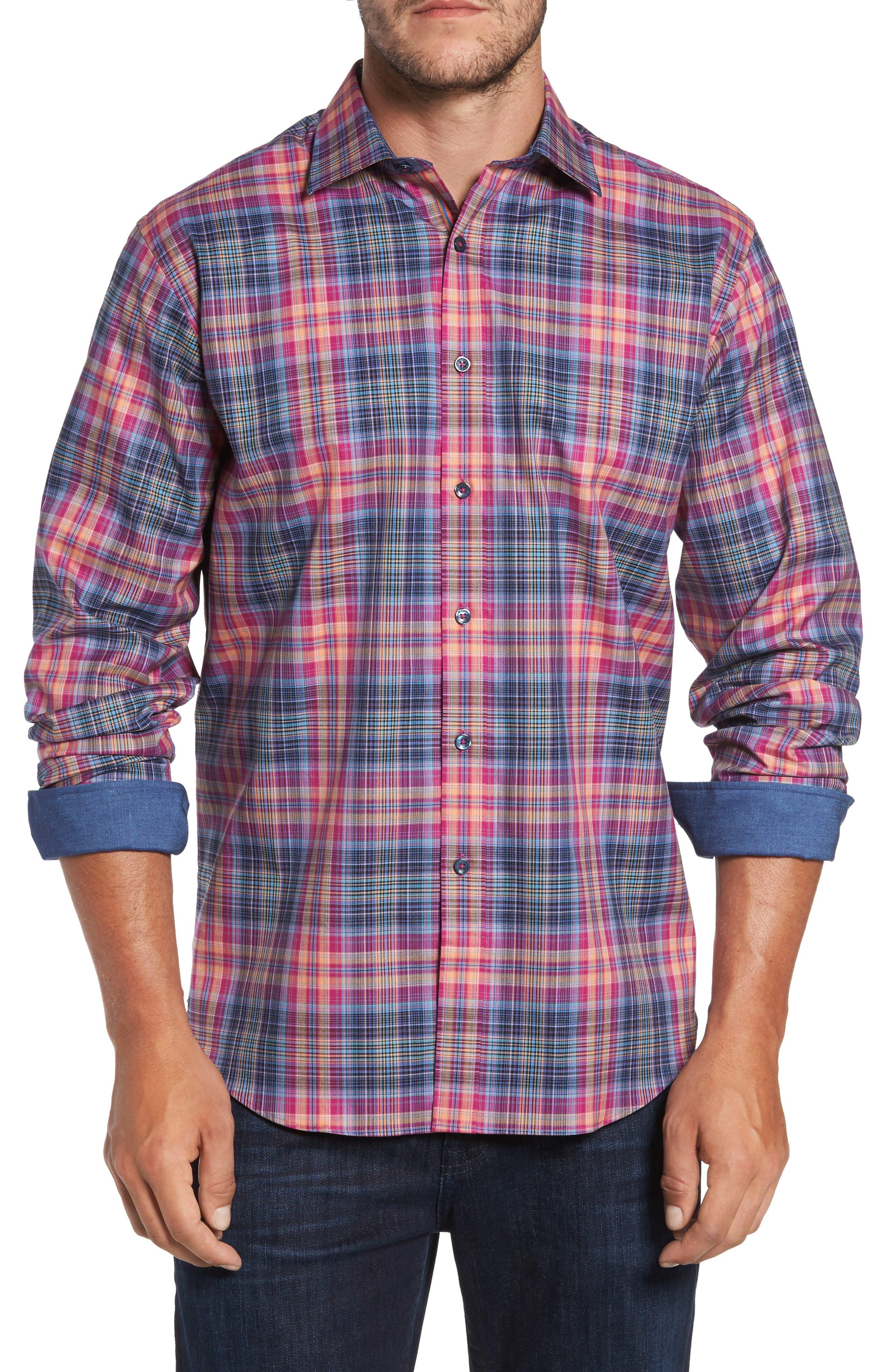 Classic Fit Plaid Sport Shirt,                         Main,                         color, 537