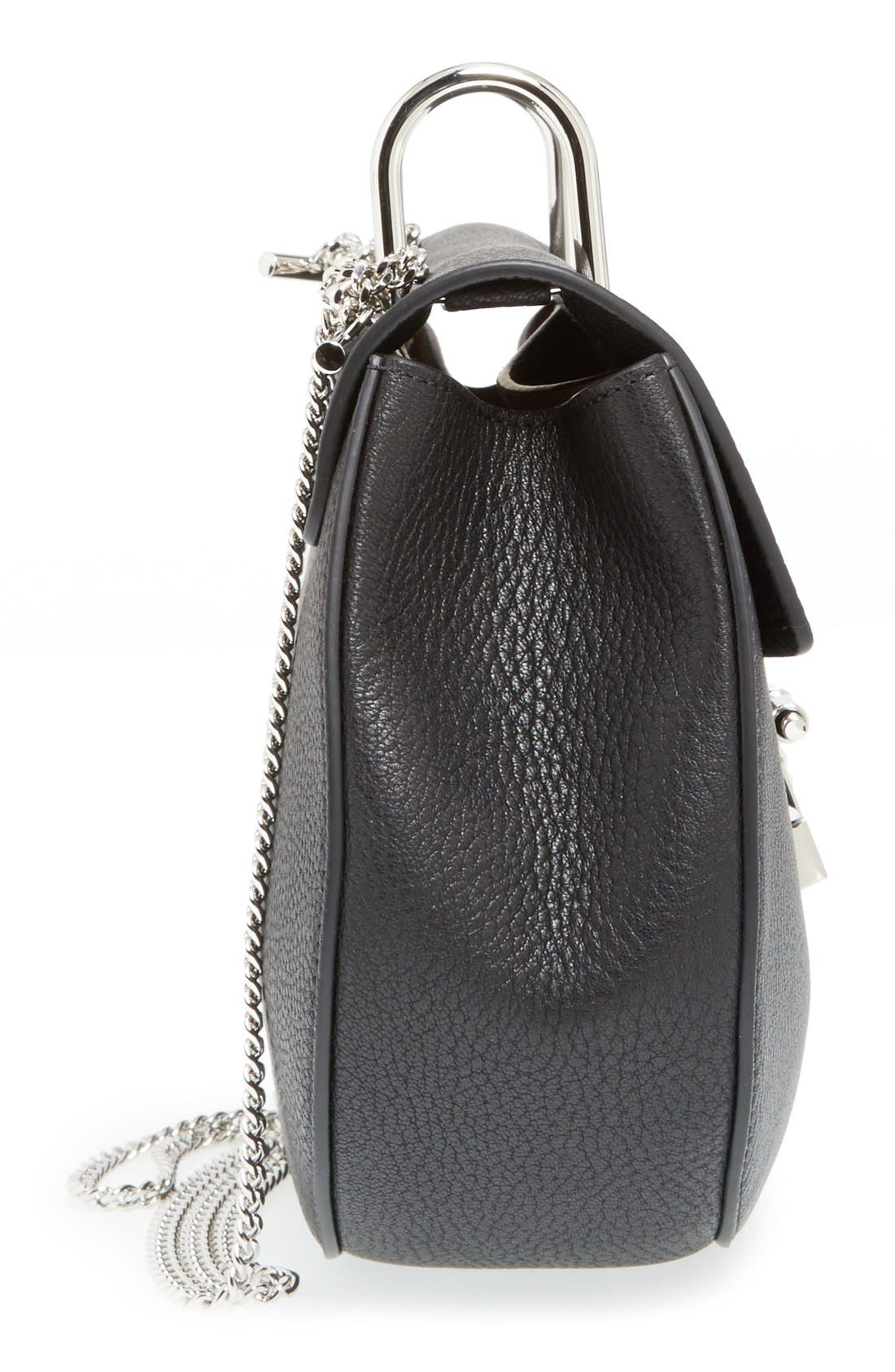 'Small Drew' Leather Shoulder Bag,                             Alternate thumbnail 5, color,                             001