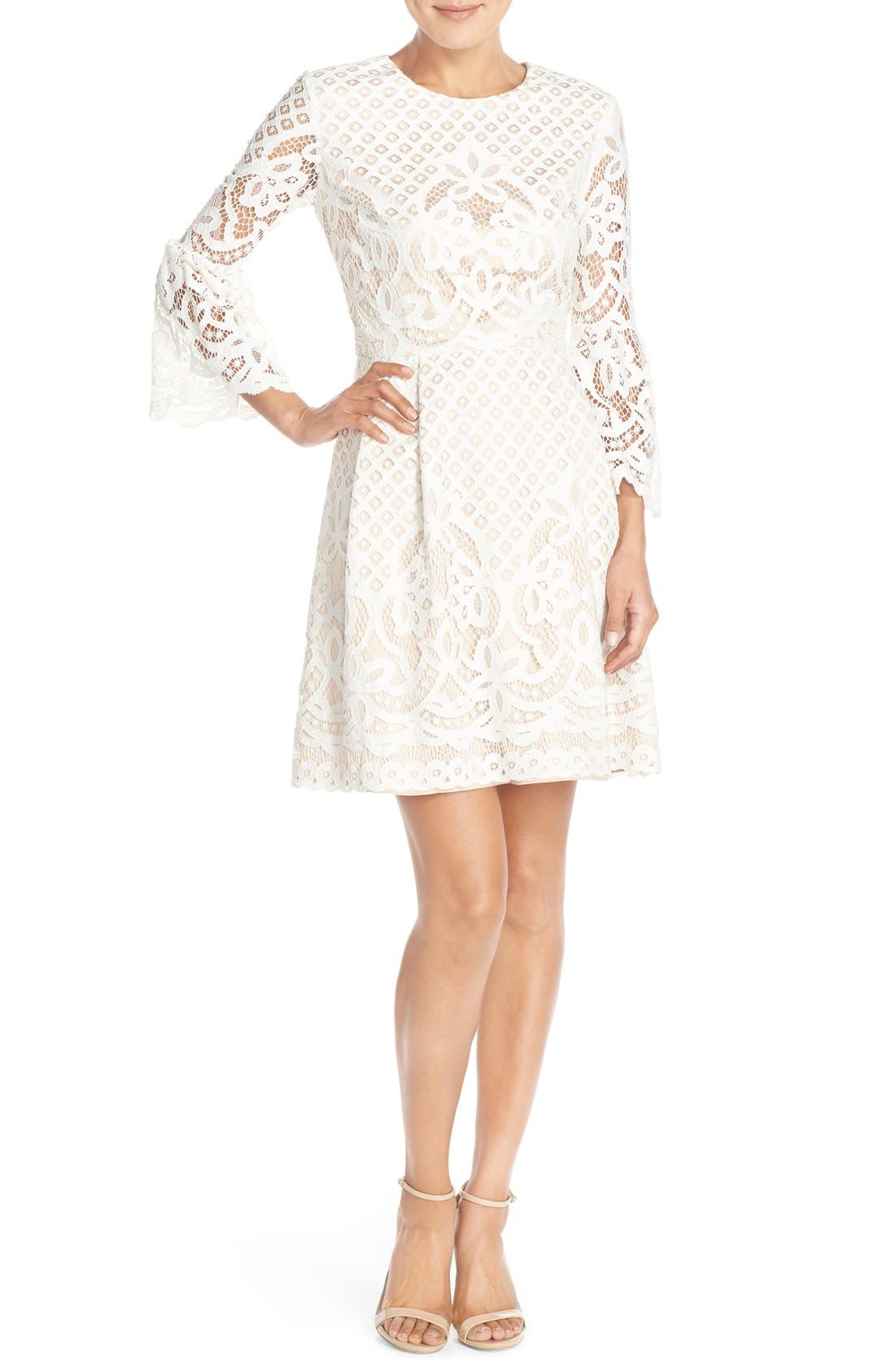 Bell Sleeve Fit & Flare Dress,                             Alternate thumbnail 10, color,                             IVORY
