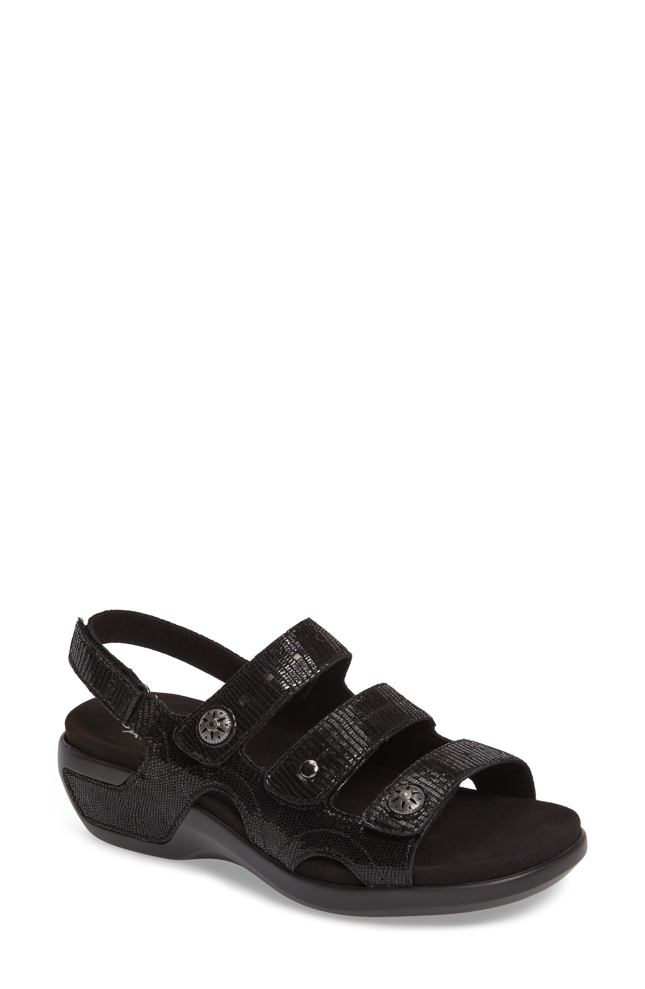 PC Wedge Sandal,                         Main,                         color, BLACK FABRIC