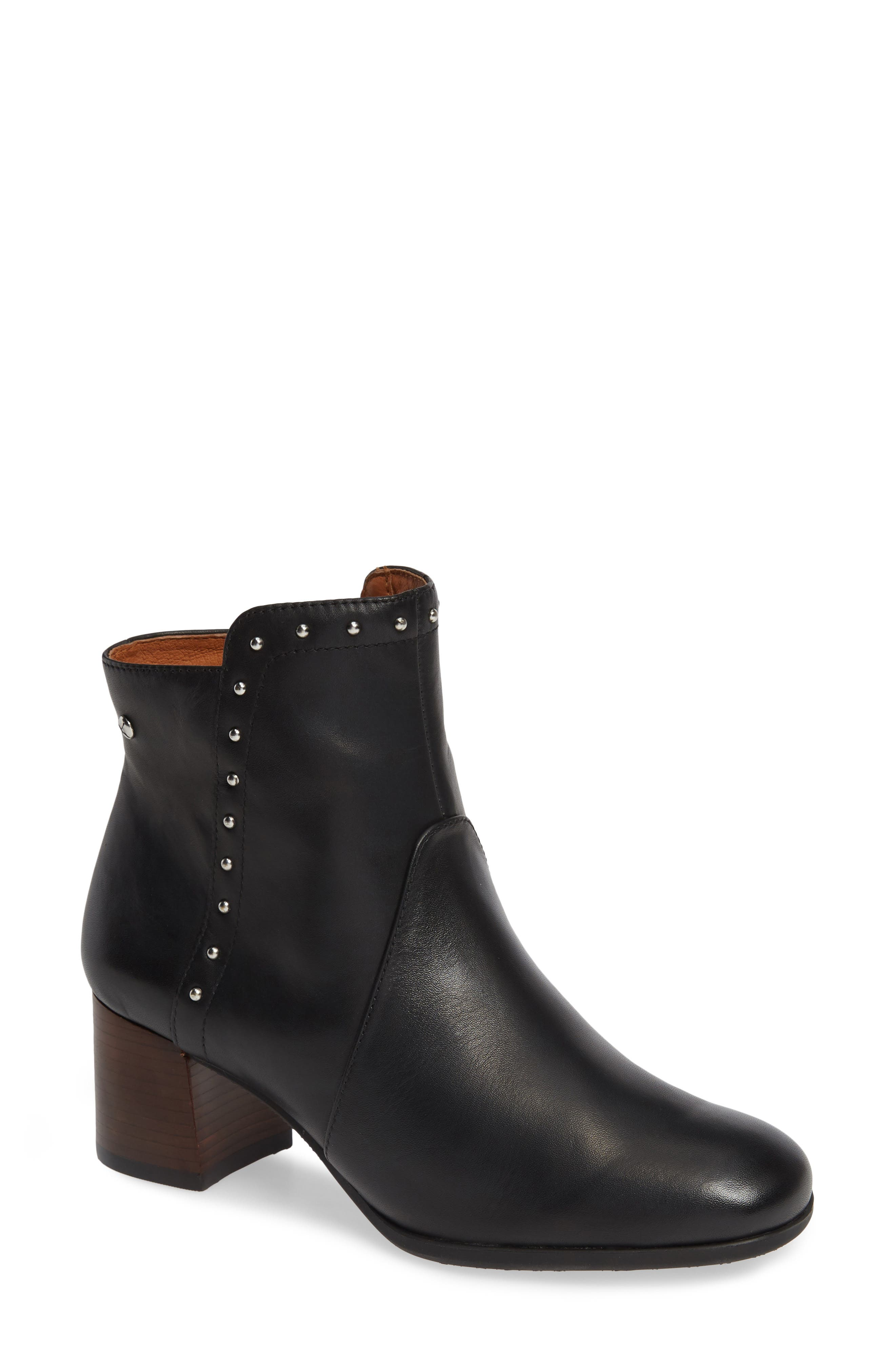 Bayona Stud Bootie,                             Main thumbnail 1, color,                             BLACK LEATHER