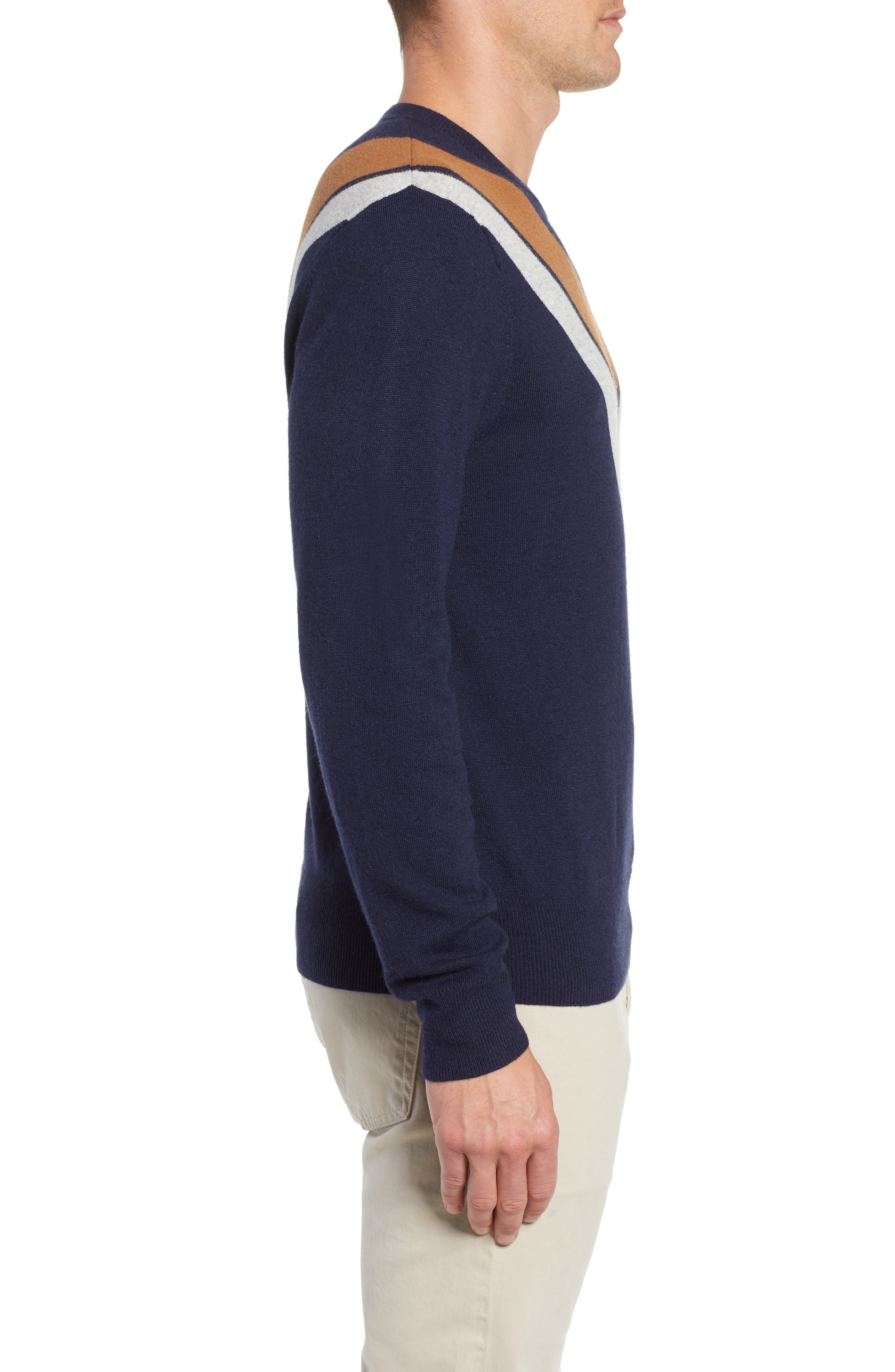 Minton V Crewneck Sweater,                             Alternate thumbnail 3, color,                             DARK NAVY/ LHN/ BURNT SUGAR