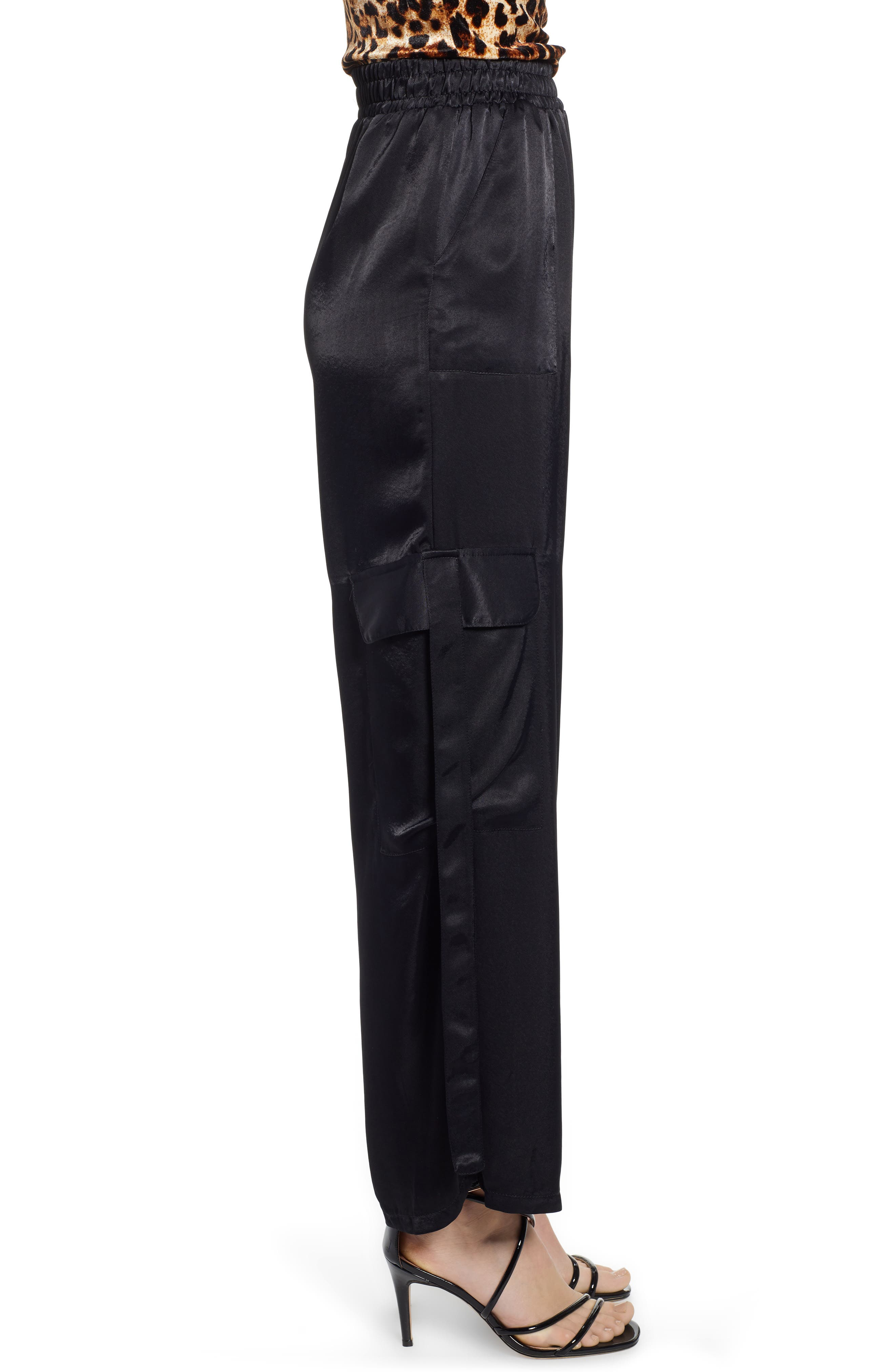 x We Own the Night Satin Combat Wide Leg Trousers,                             Alternate thumbnail 3, color,                             BLACK