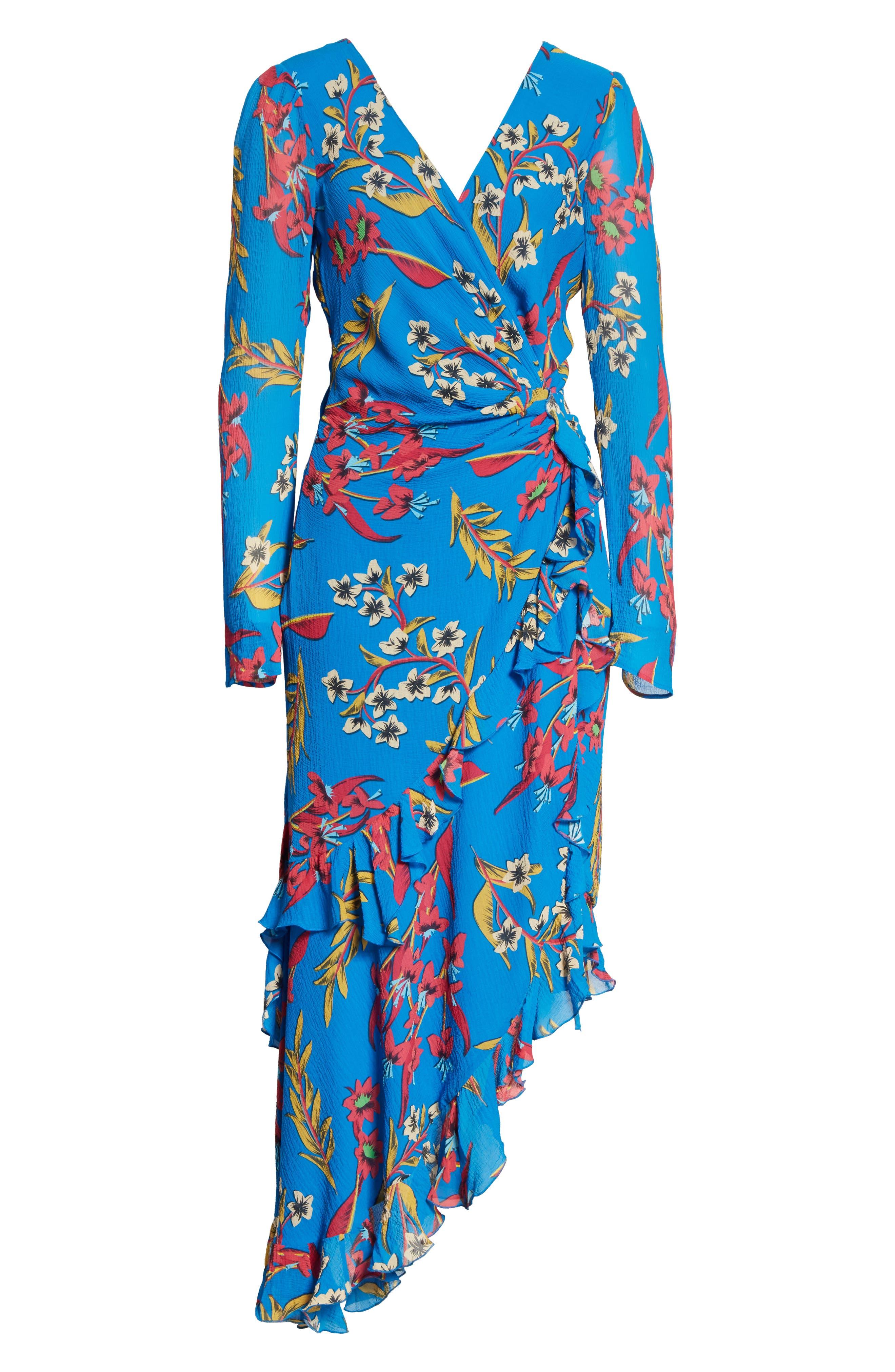 Jungle Floral Print Asymmetrical Ruffle Dress,                             Alternate thumbnail 6, color,                             410