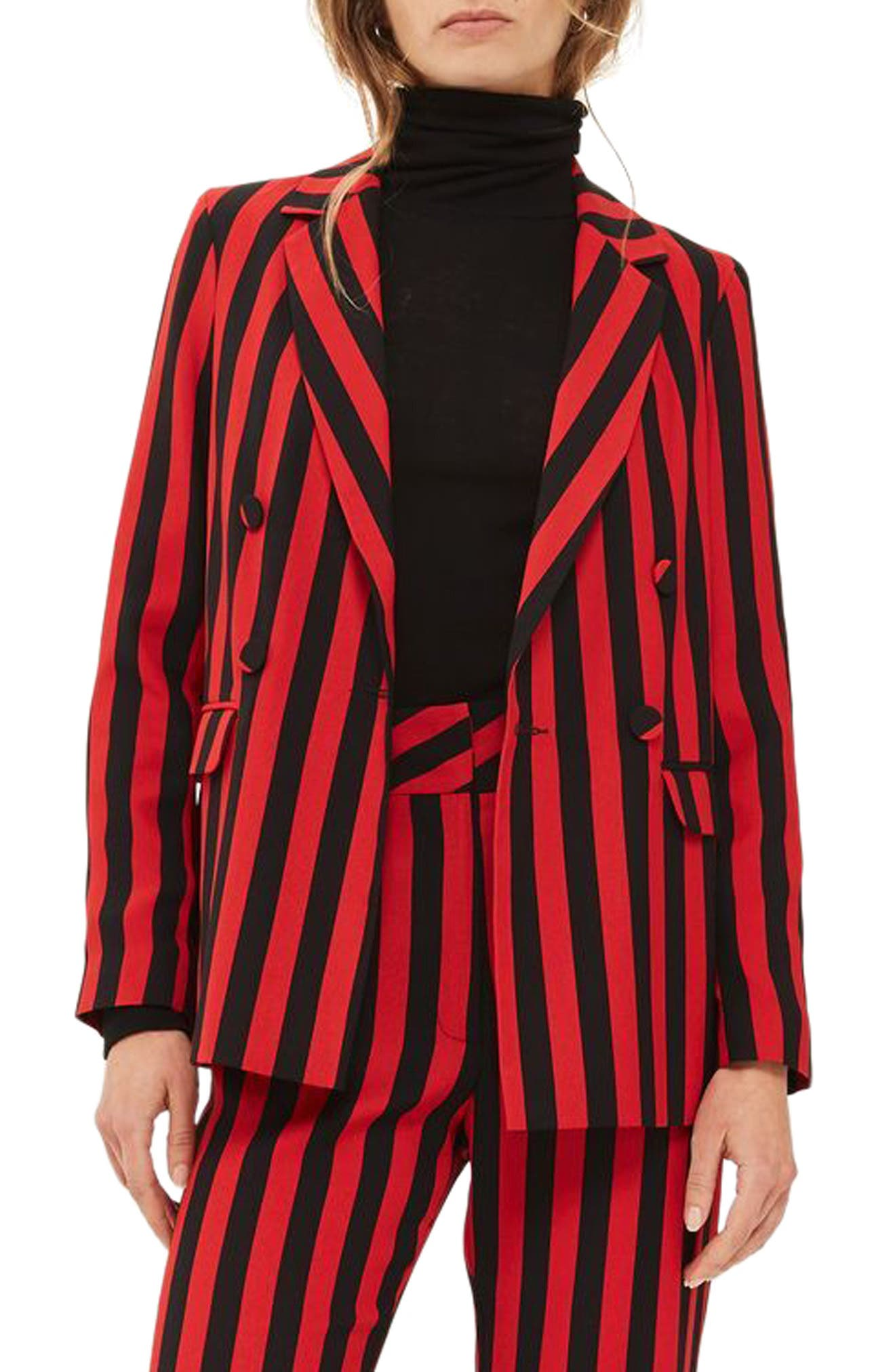 Humbug Stripe Double Breasted Blazer,                             Main thumbnail 1, color,                             601