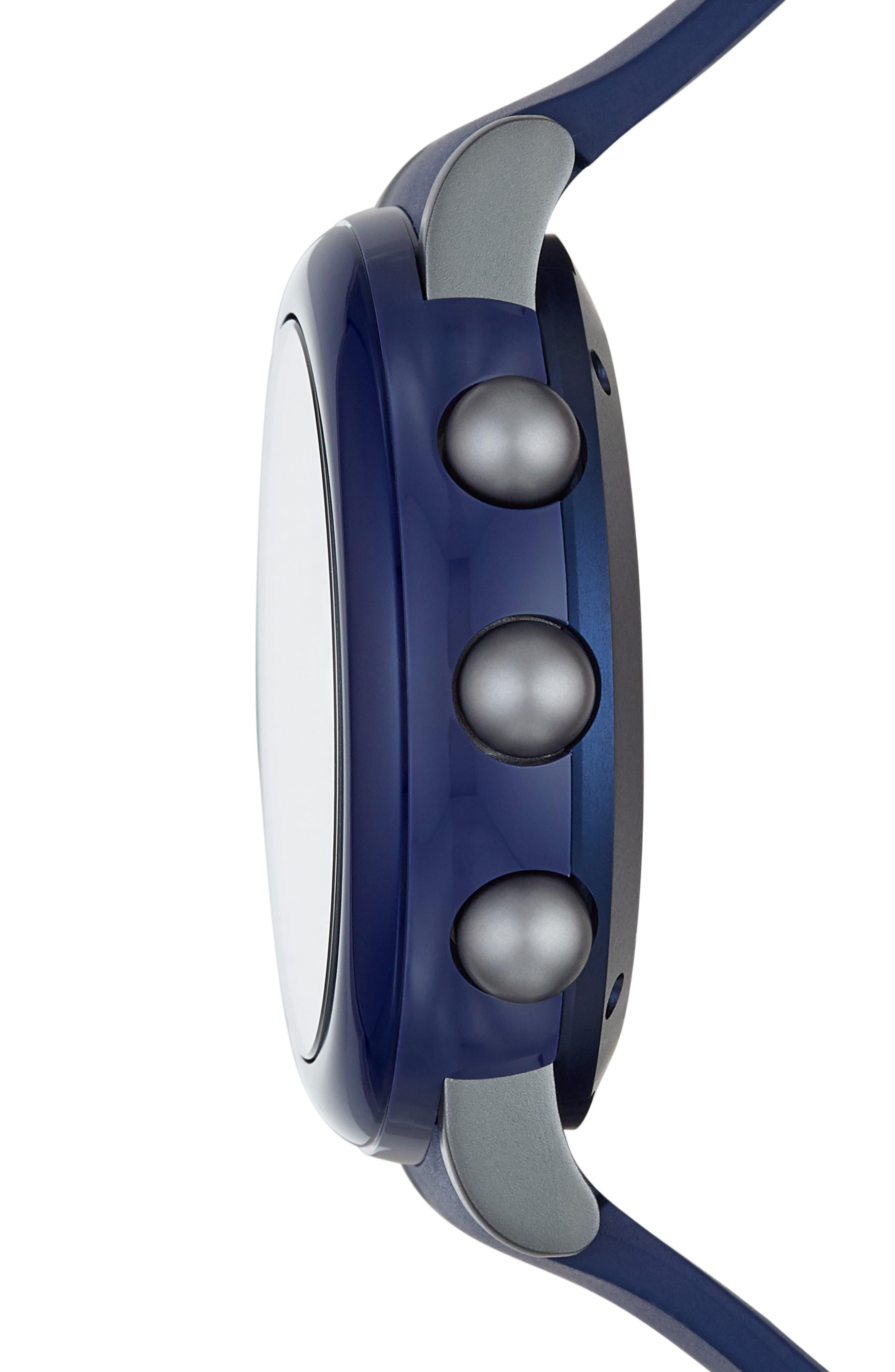 Riley Hybrid Rubber Strap Smart Watch, 44mm,                             Alternate thumbnail 3, color,                             NAVY/ BLACK/ NAVY