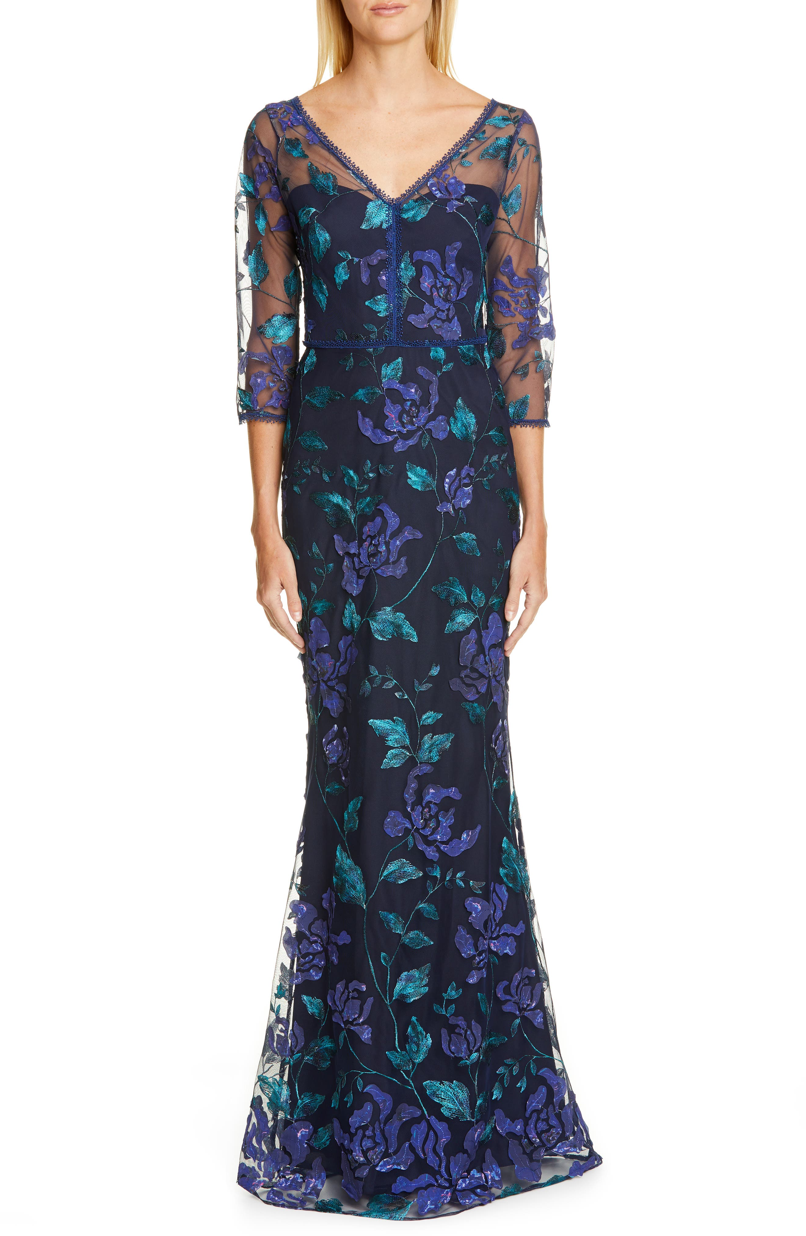 Marchesa Notte Floral Embroidered Trumpet Gown, Blue