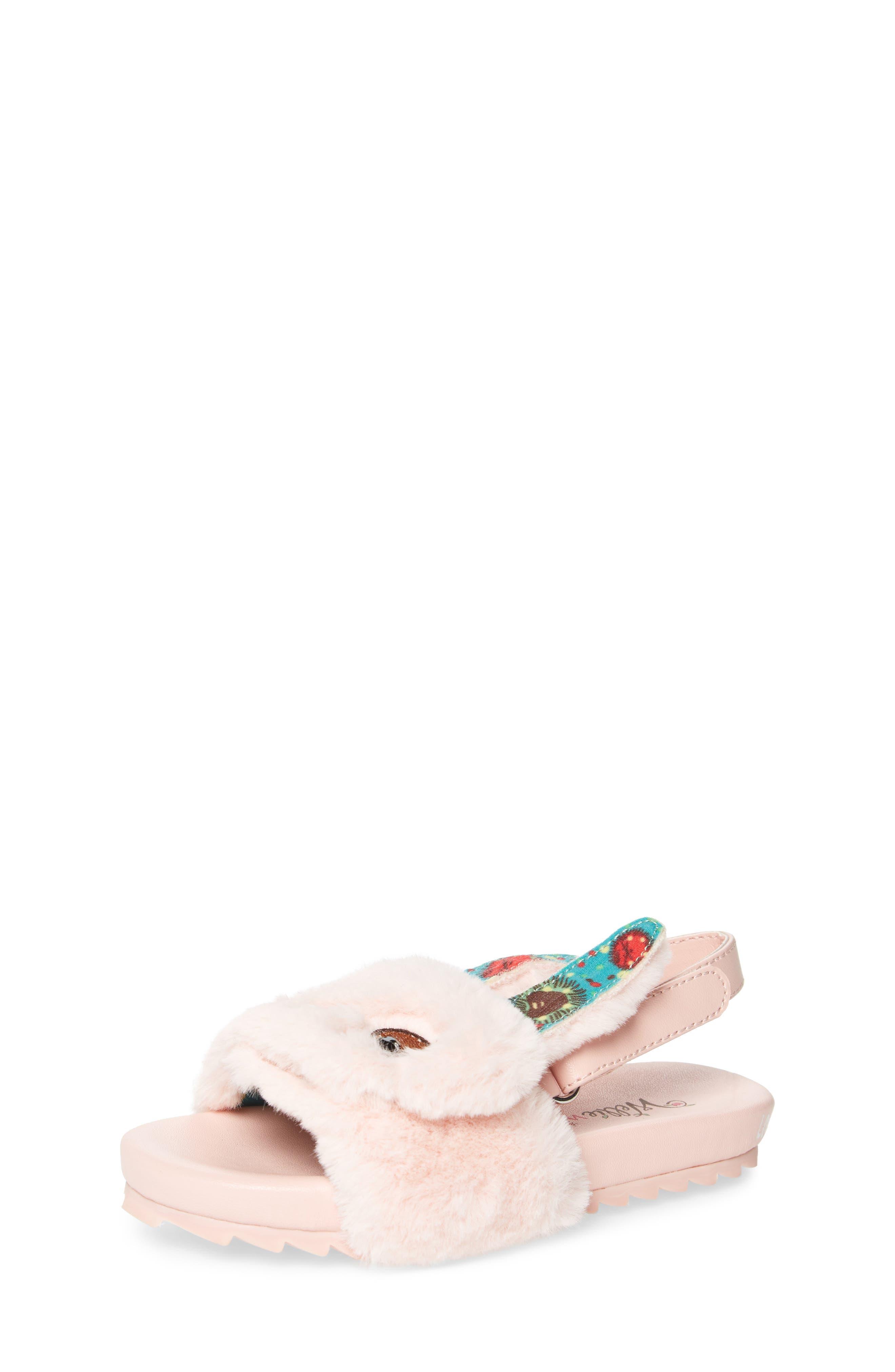 Willa Carrot Faux Fur Strap Slide Sandal,                         Main,                         color, 697