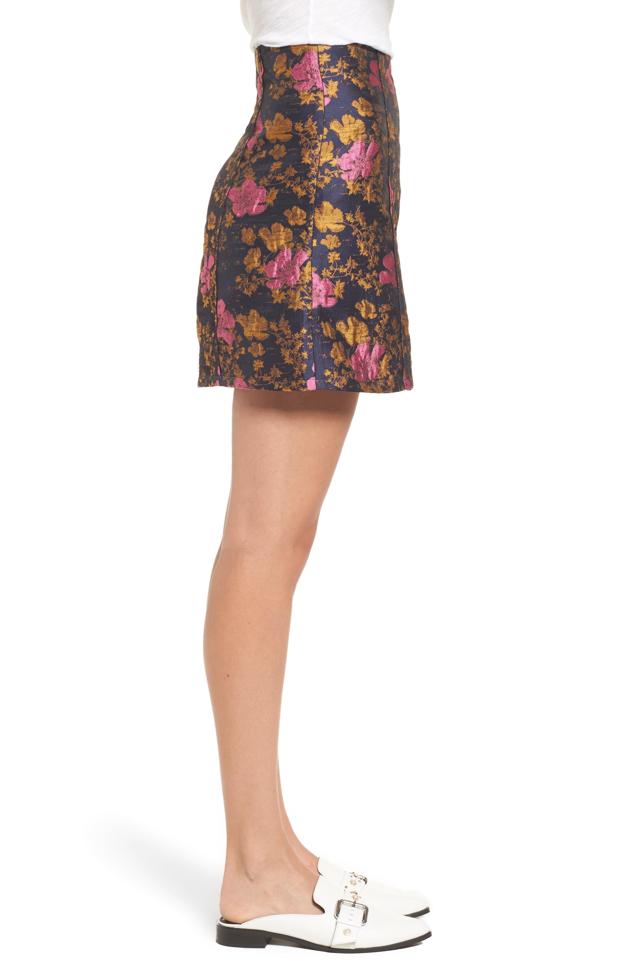High Waist Floral Print Miniskirt,                             Alternate thumbnail 3, color,