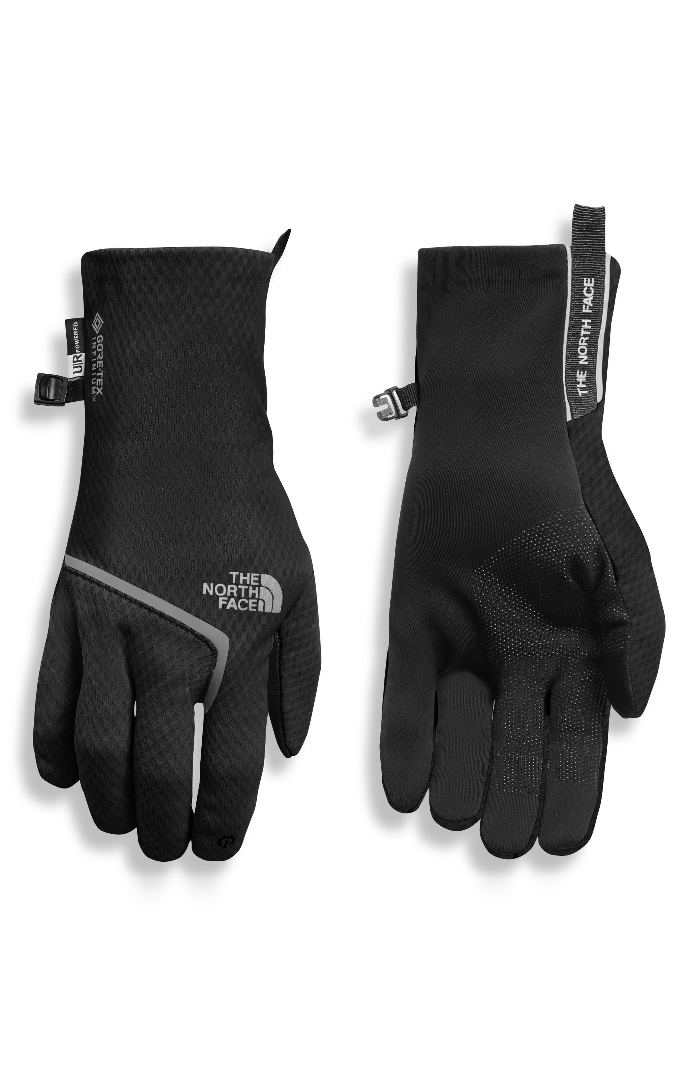 CloseFit Tricot Gloves,                             Main thumbnail 1, color,                             TNF BLACK