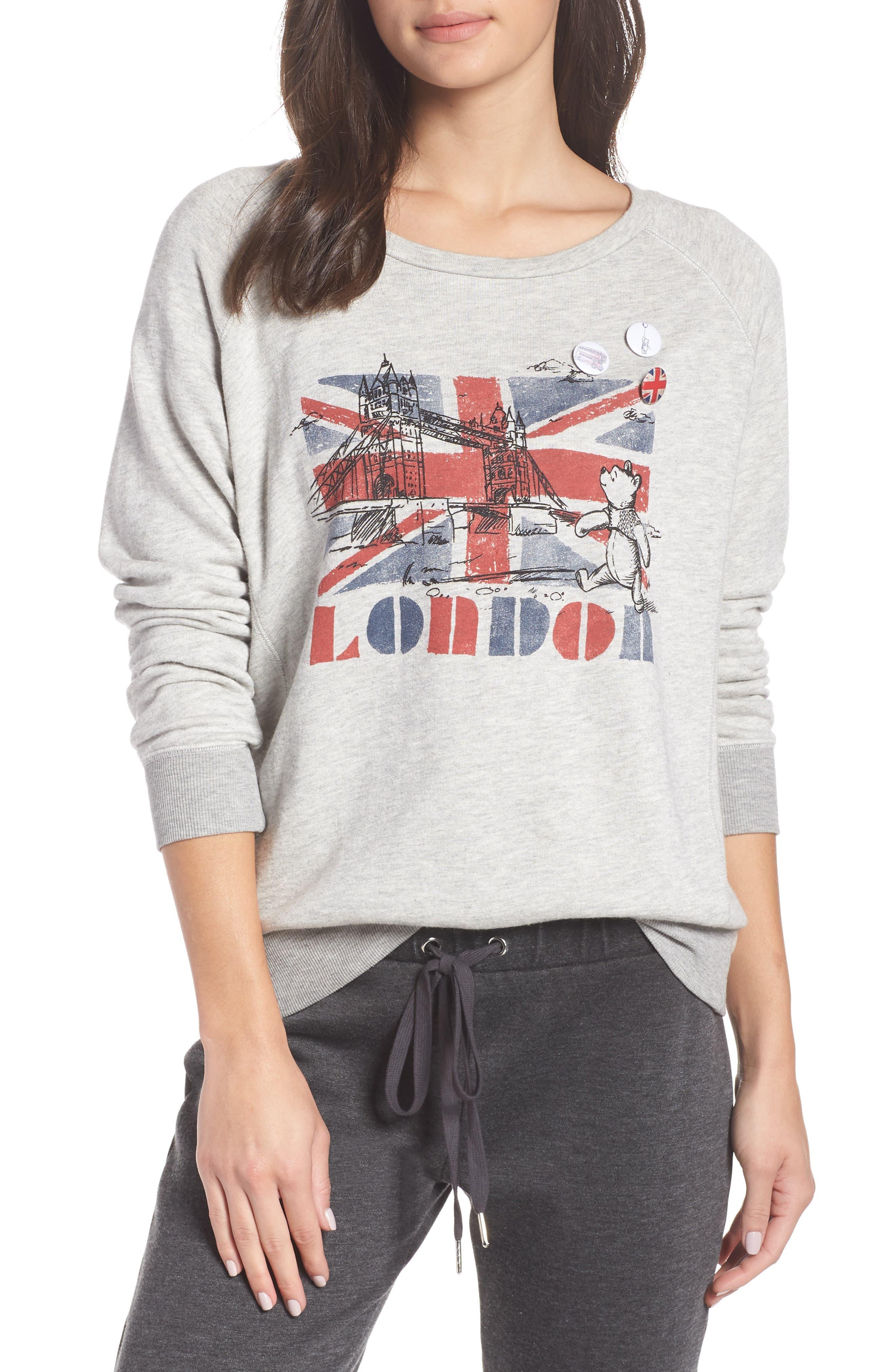 DAVID LERNER London Bridge French Terry Sweatshirt in Heather Grey/ Hea