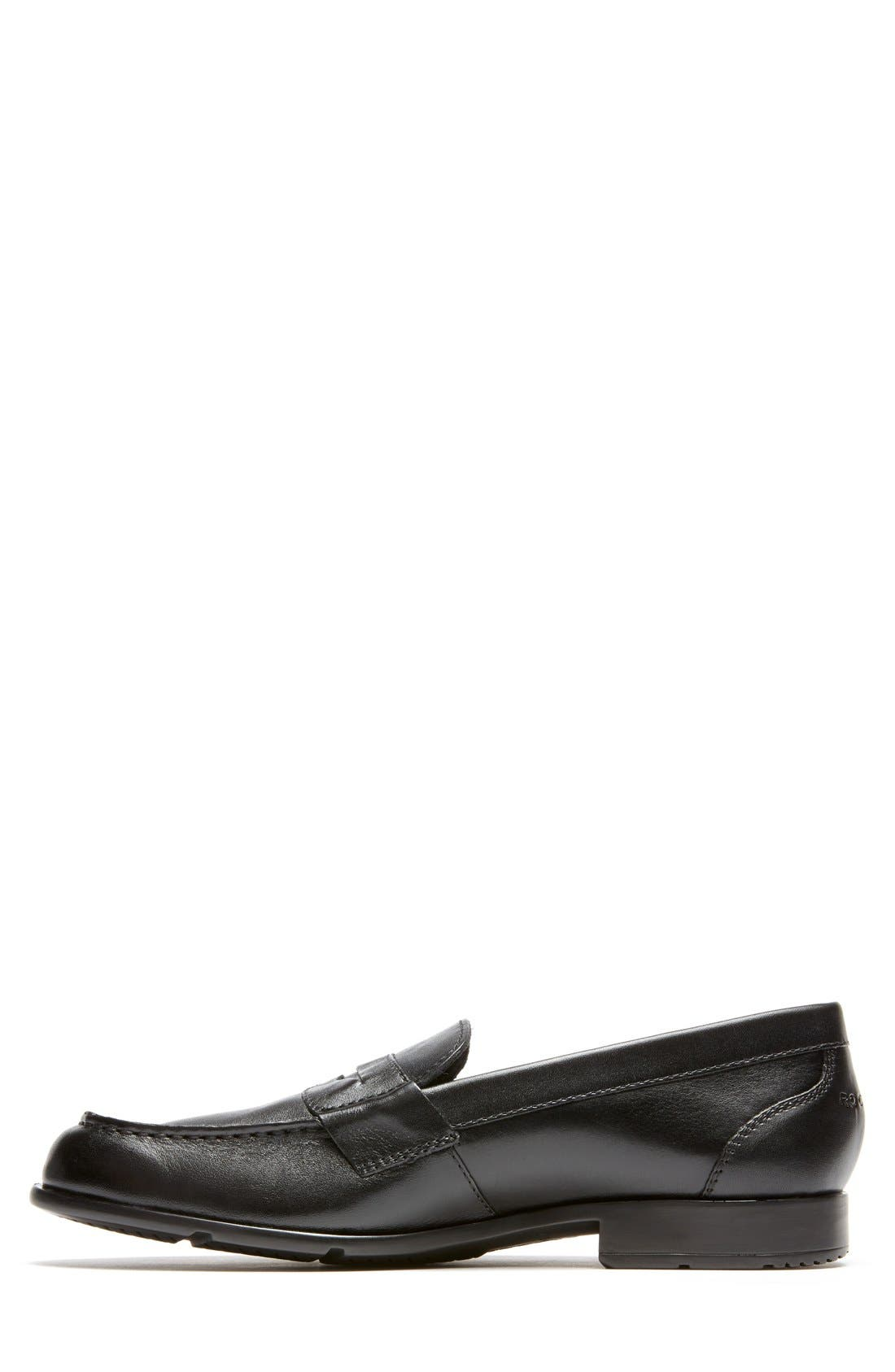 Leather Penny Loafer,                             Alternate thumbnail 3, color,                             BLACK
