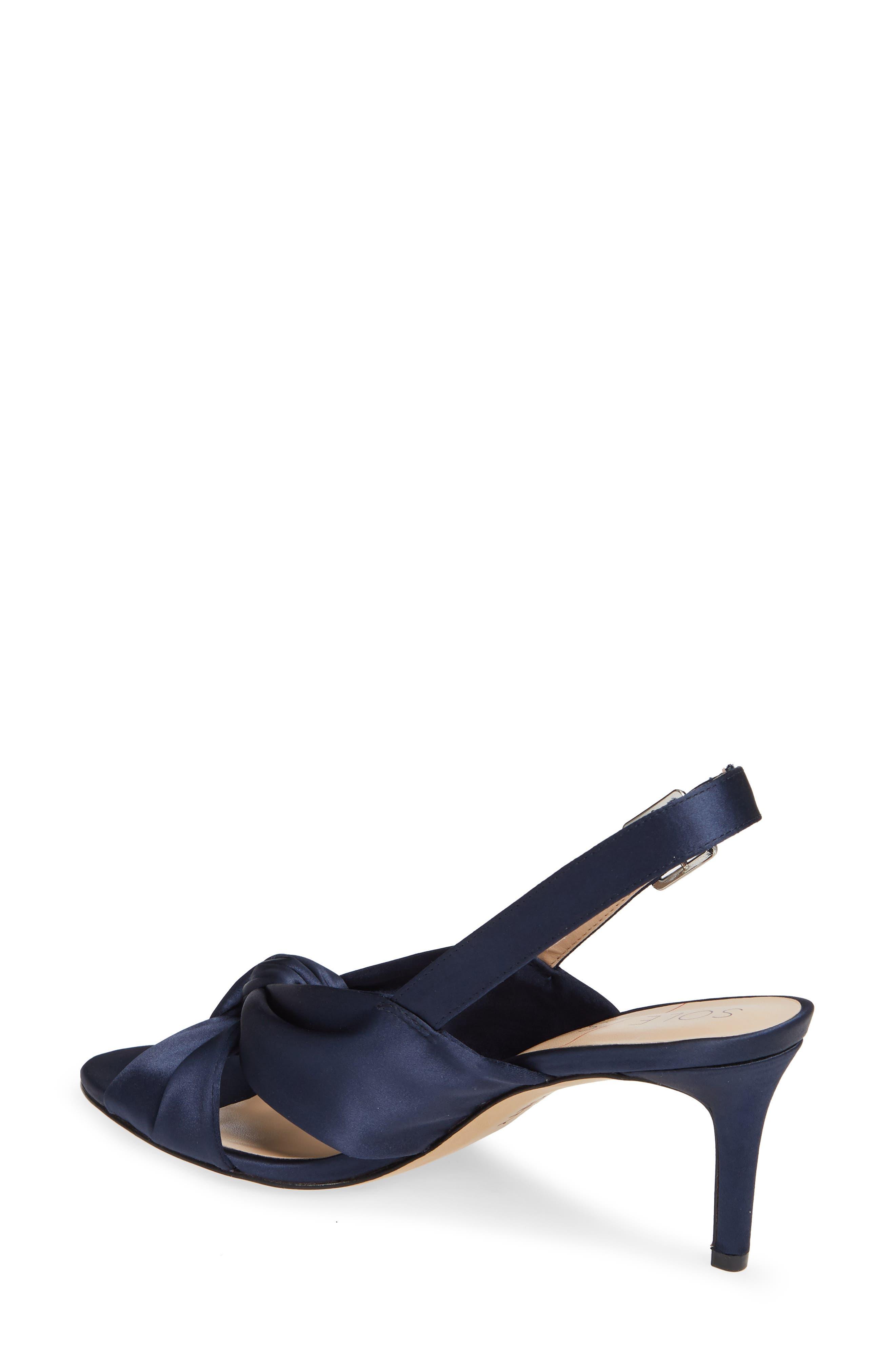 Genneene Knotted Slingback Sandal,                             Alternate thumbnail 2, color,                             MIDNIGHT SATIN