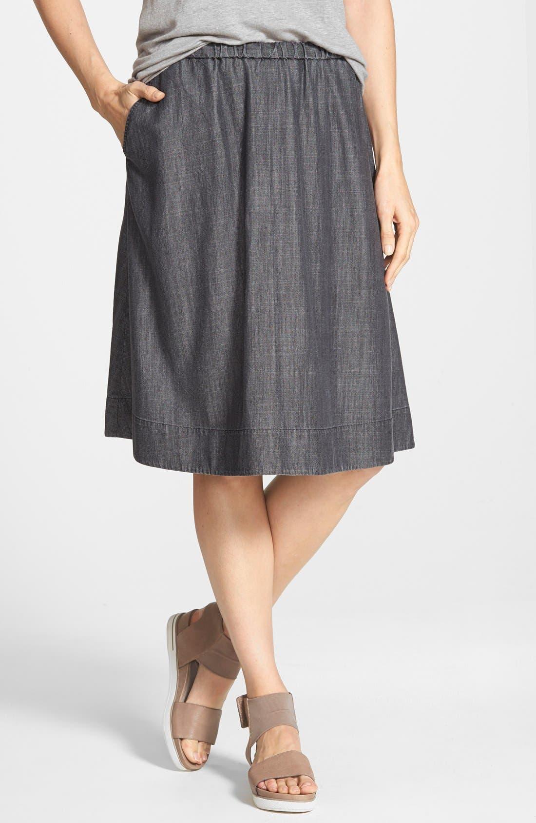 Gathered Chambray Skirt,                             Main thumbnail 1, color,                             001