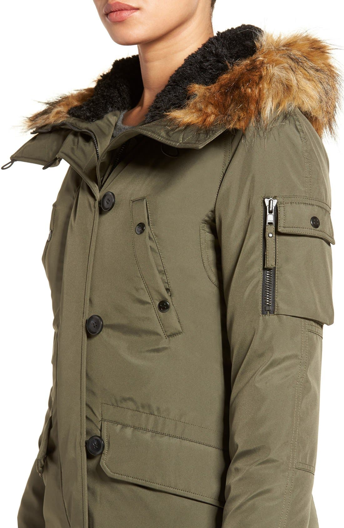 S13 'Alaska' Parka with Faux Fur Trim Hood,                             Alternate thumbnail 4, color,