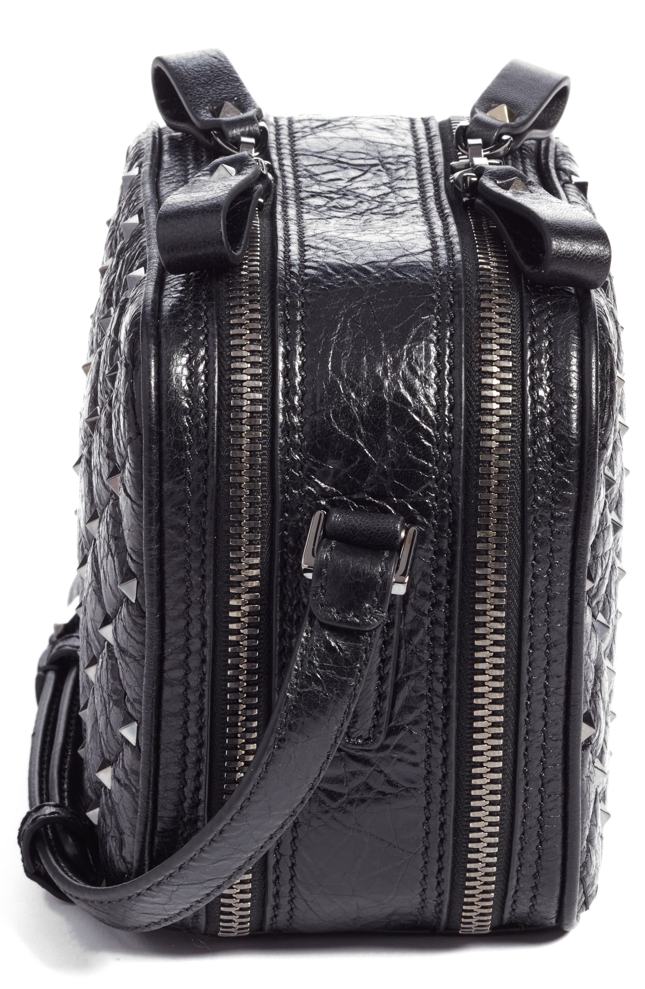 Rockstud Leather Camera Crossbody Bag,                             Alternate thumbnail 5, color,                             001