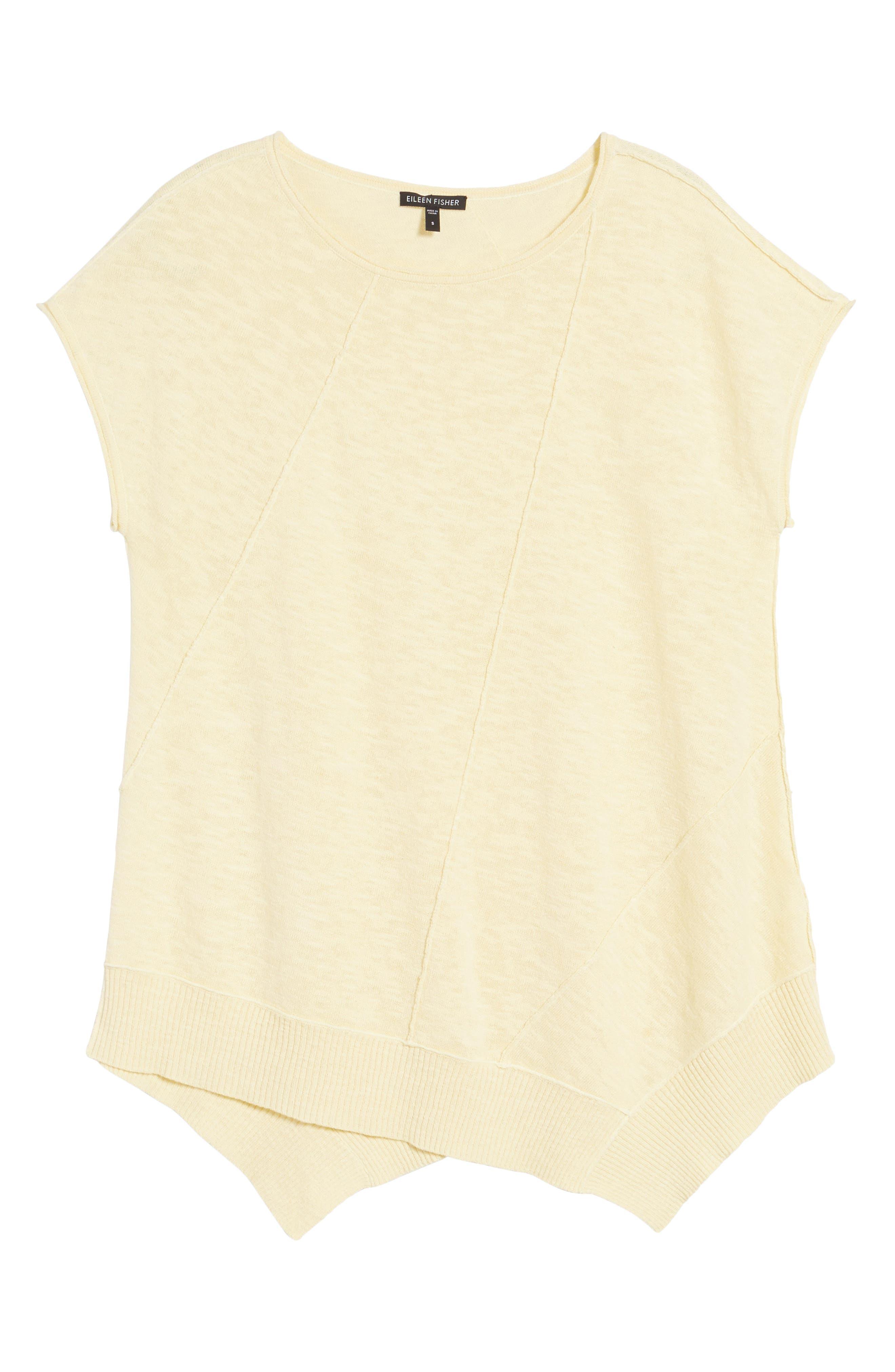 Cap Sleeve Organic Linen & Cotton Scoop Neck Top,                             Alternate thumbnail 74, color,