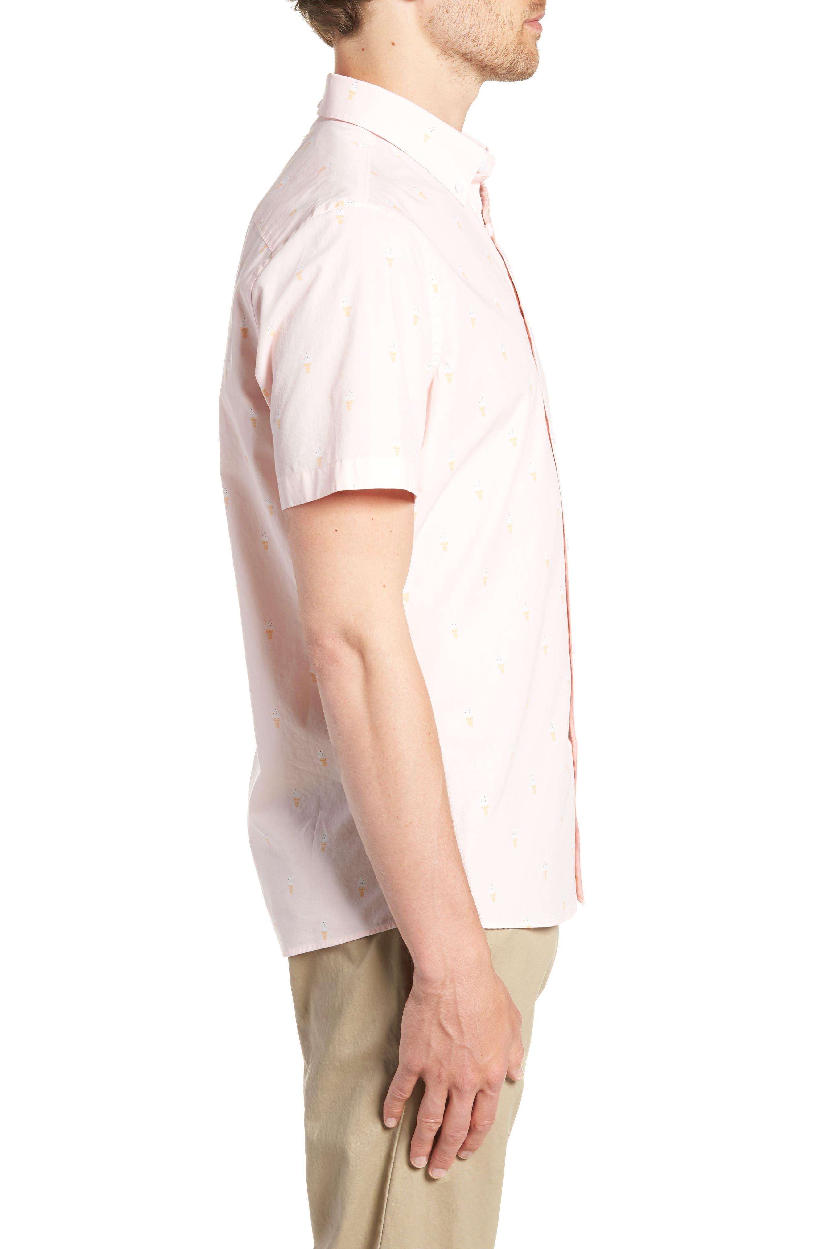 Trim Fit Print Short Sleeve Sport Shirt,                             Alternate thumbnail 3, color,                             680