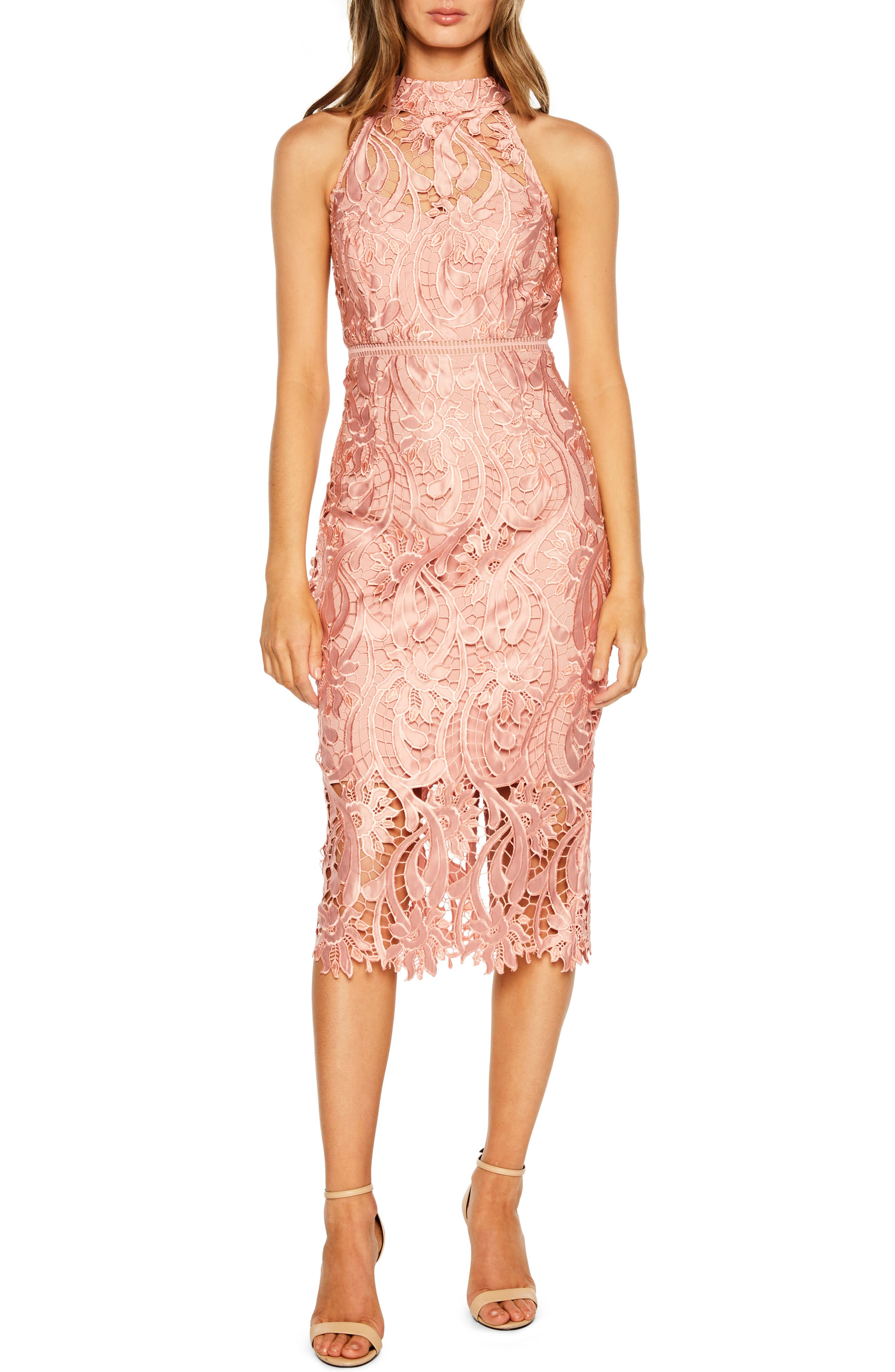 Bardot Isa Lace Halter Dress, Pink
