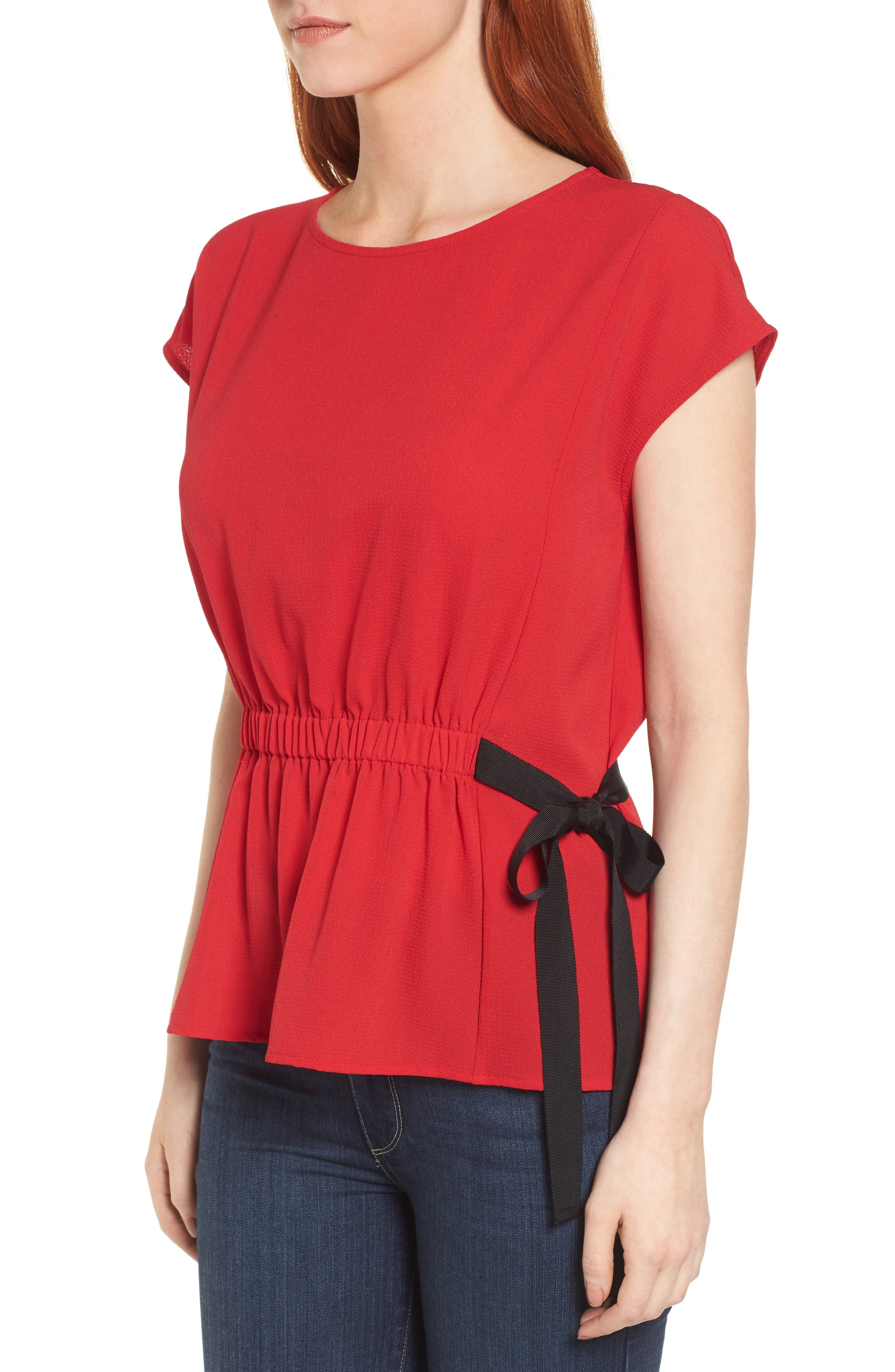 Gathered Waist Side Tie Top,                             Alternate thumbnail 18, color,