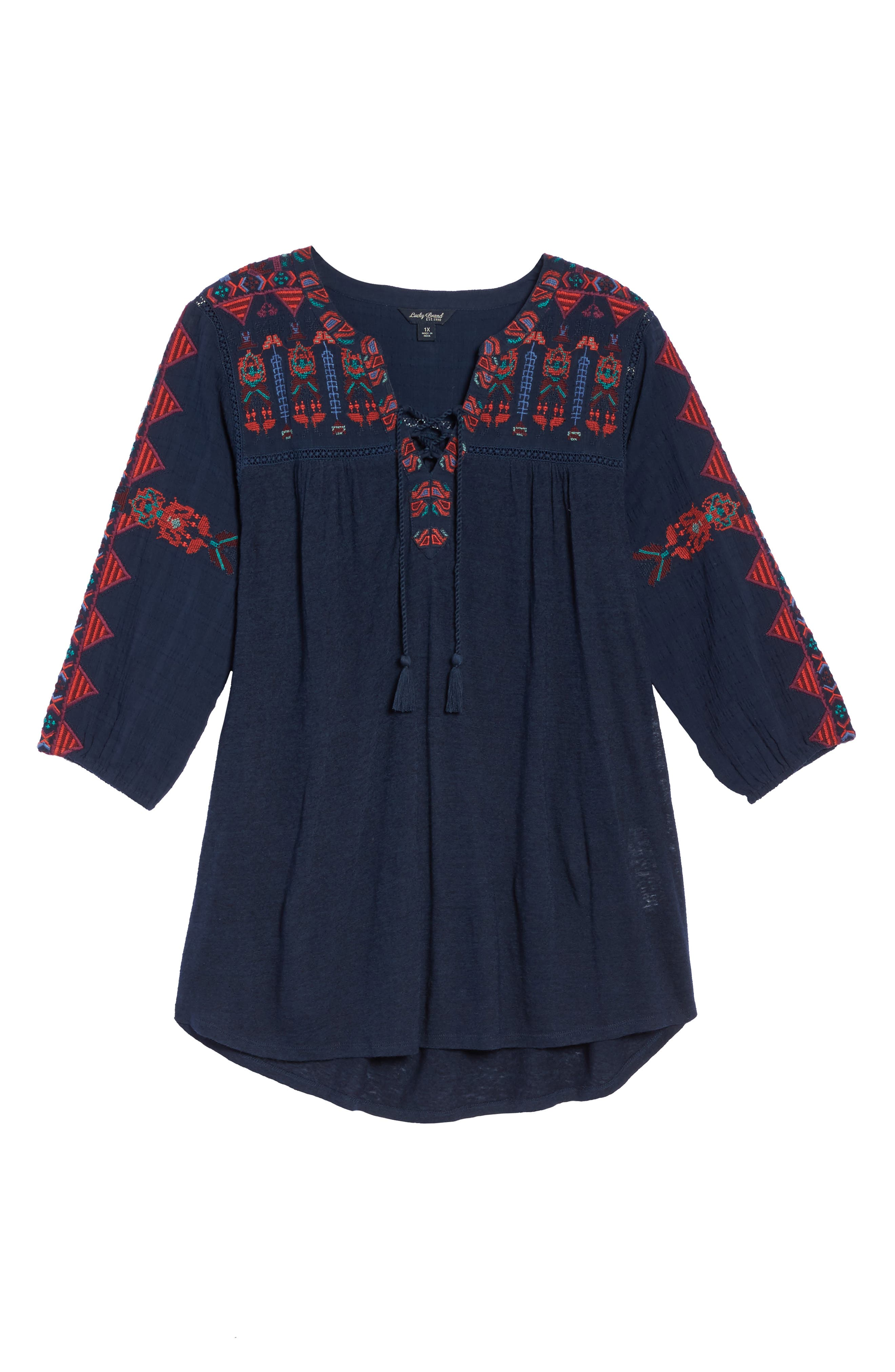 Embroidered Lace-Up Top,                             Alternate thumbnail 6, color,                             410