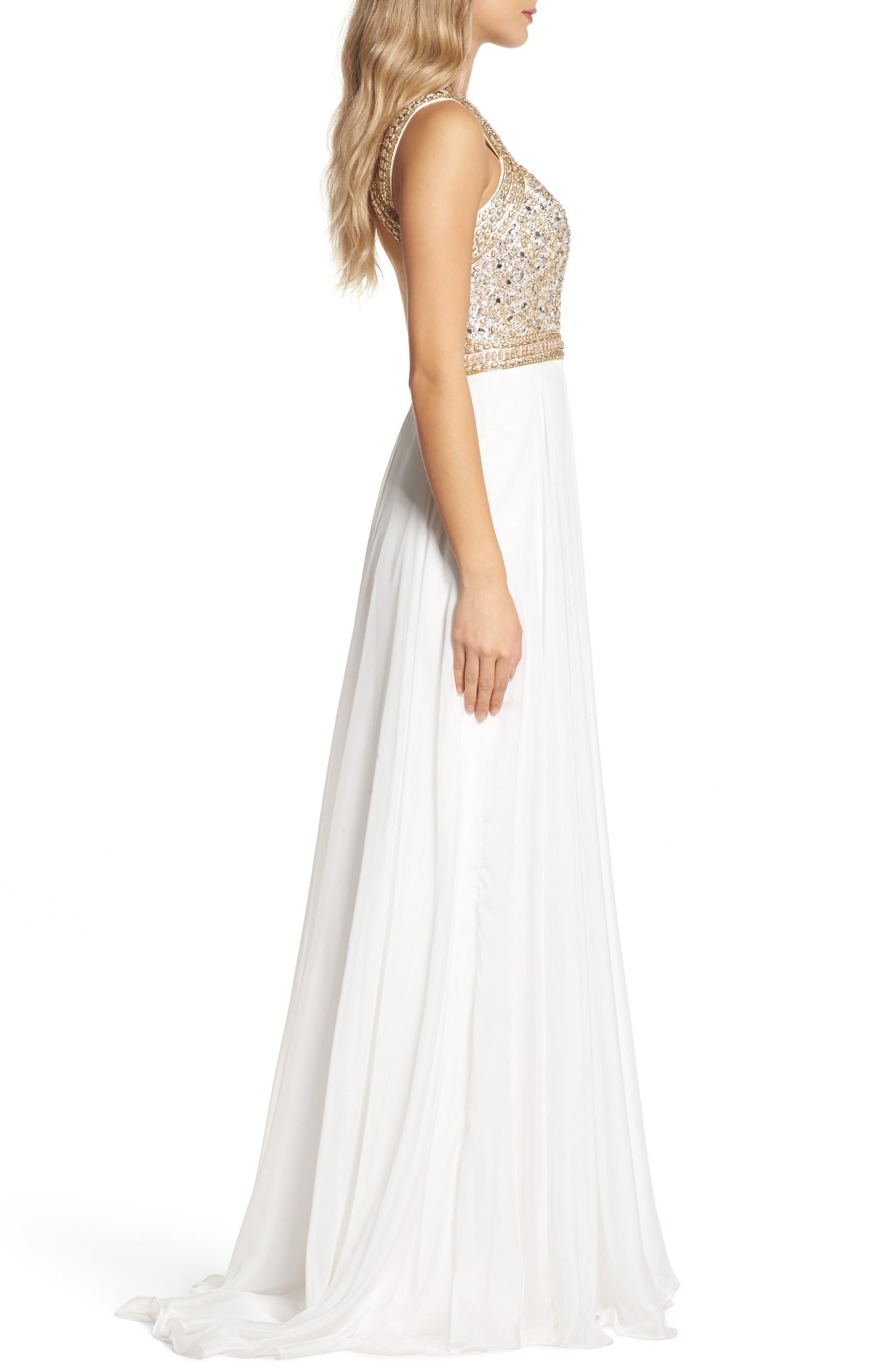 Beaded Cutout Bodice Gown,                             Alternate thumbnail 3, color,                             118