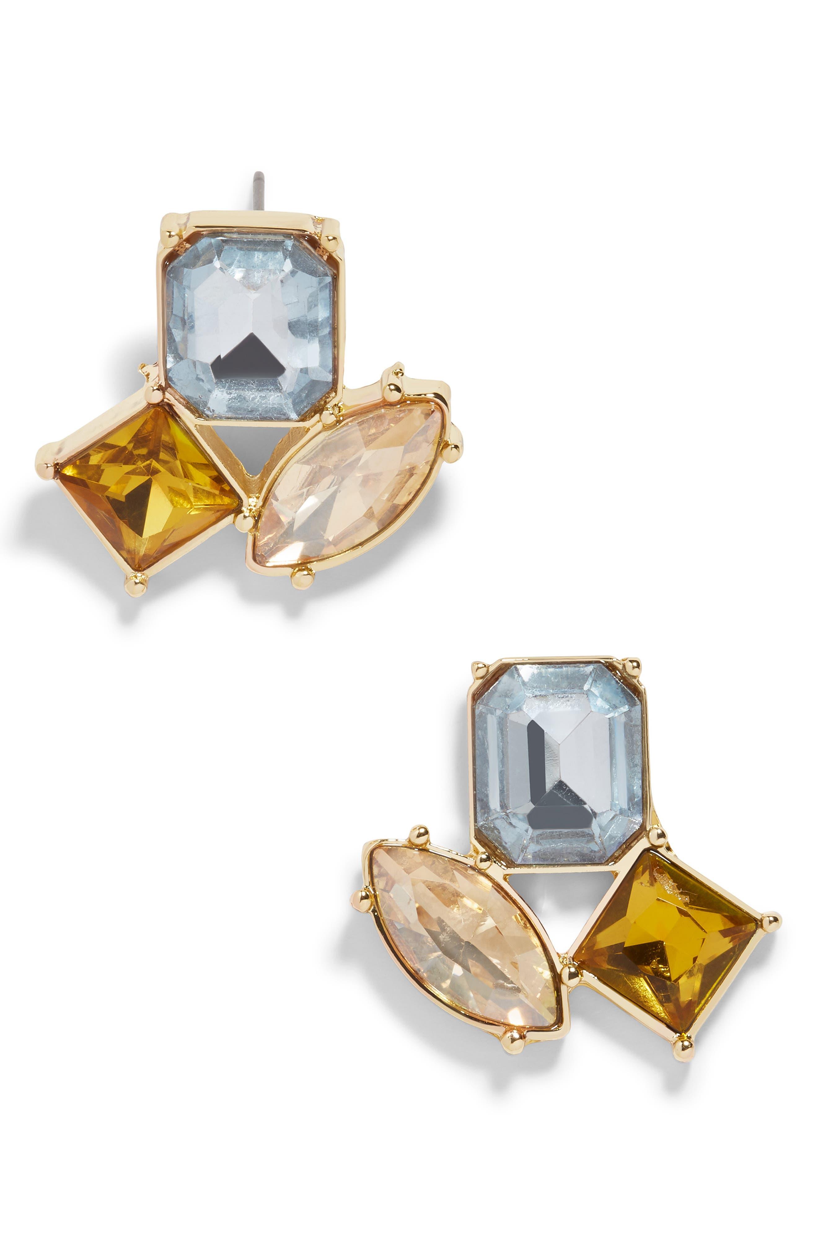 Emalia Crystal Stud Earrings in Light Blue