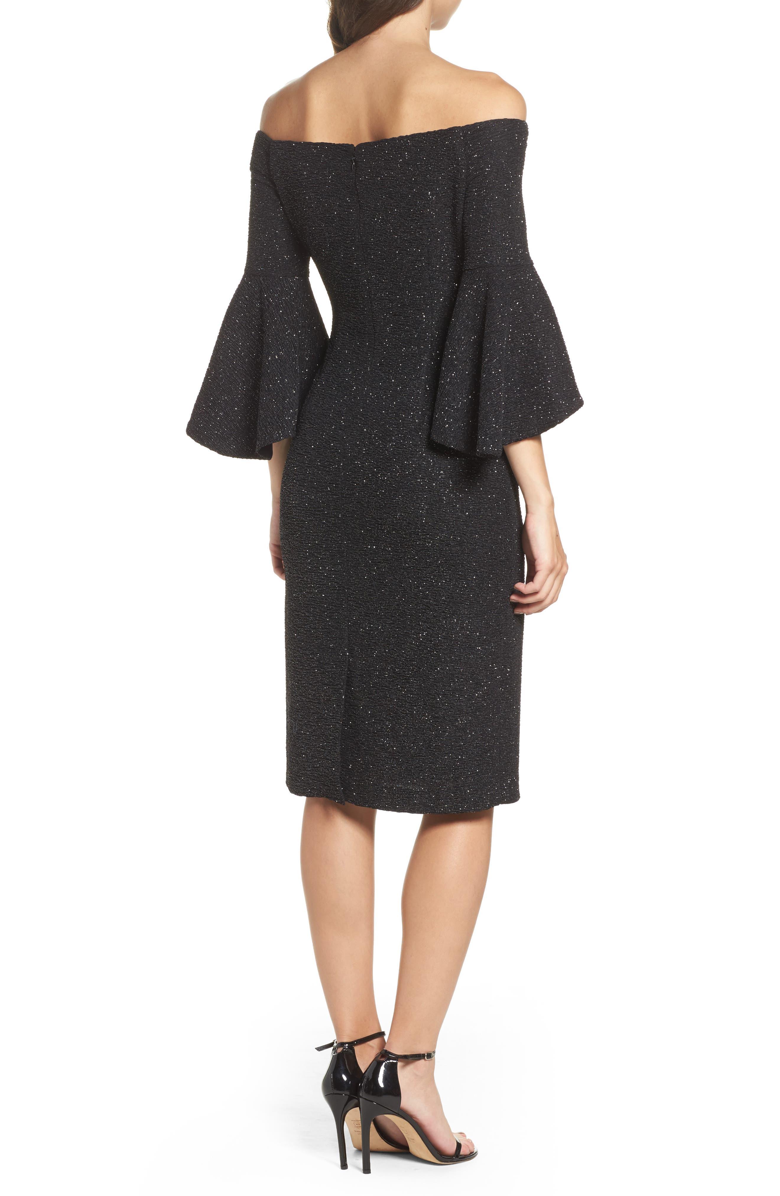 Off the Shoulder Bell Sleeve Sheath Dress,                             Alternate thumbnail 2, color,                             046