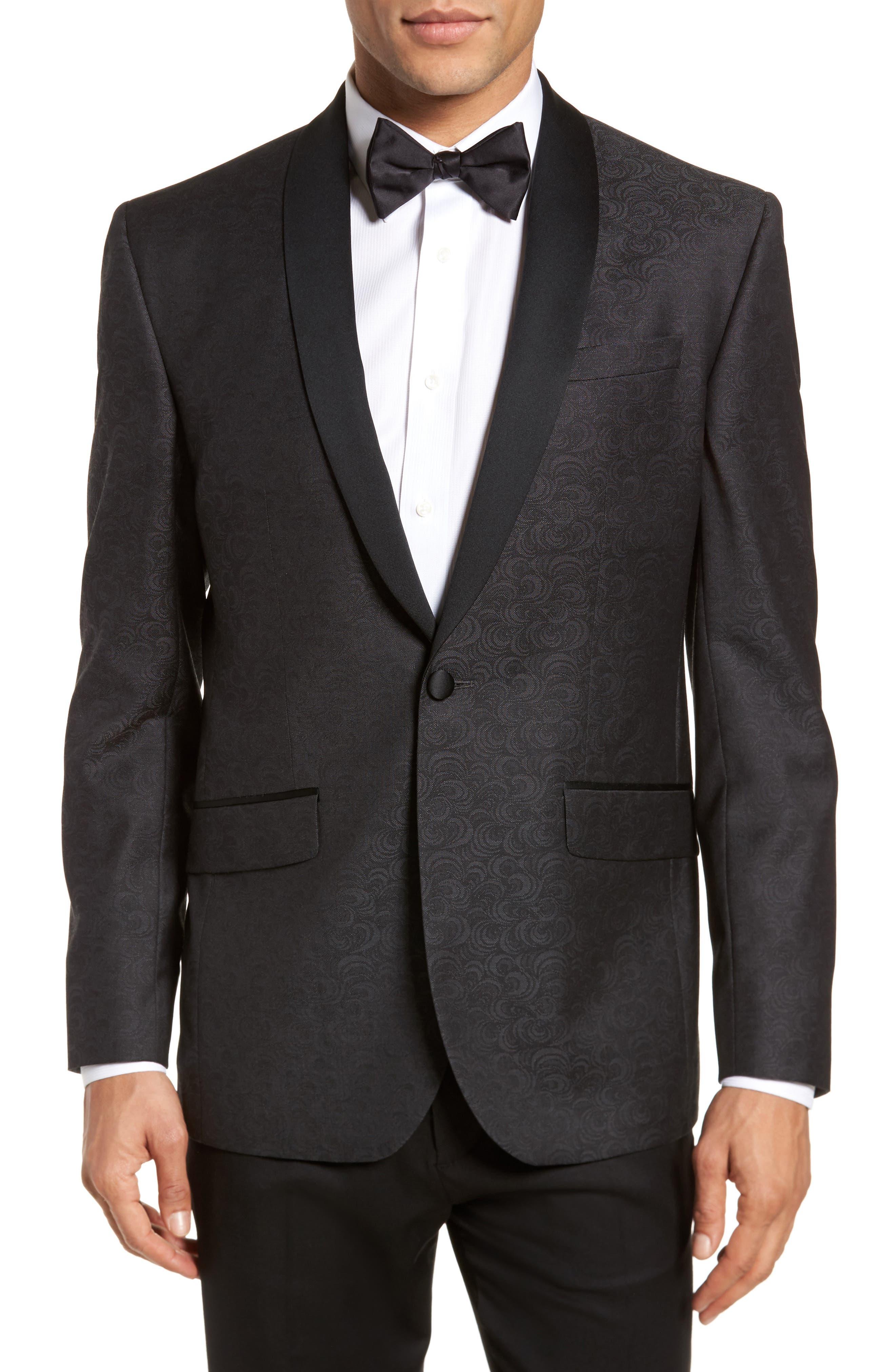 Josh Trim Fit Wool Dinner Jacket,                         Main,                         color, 001