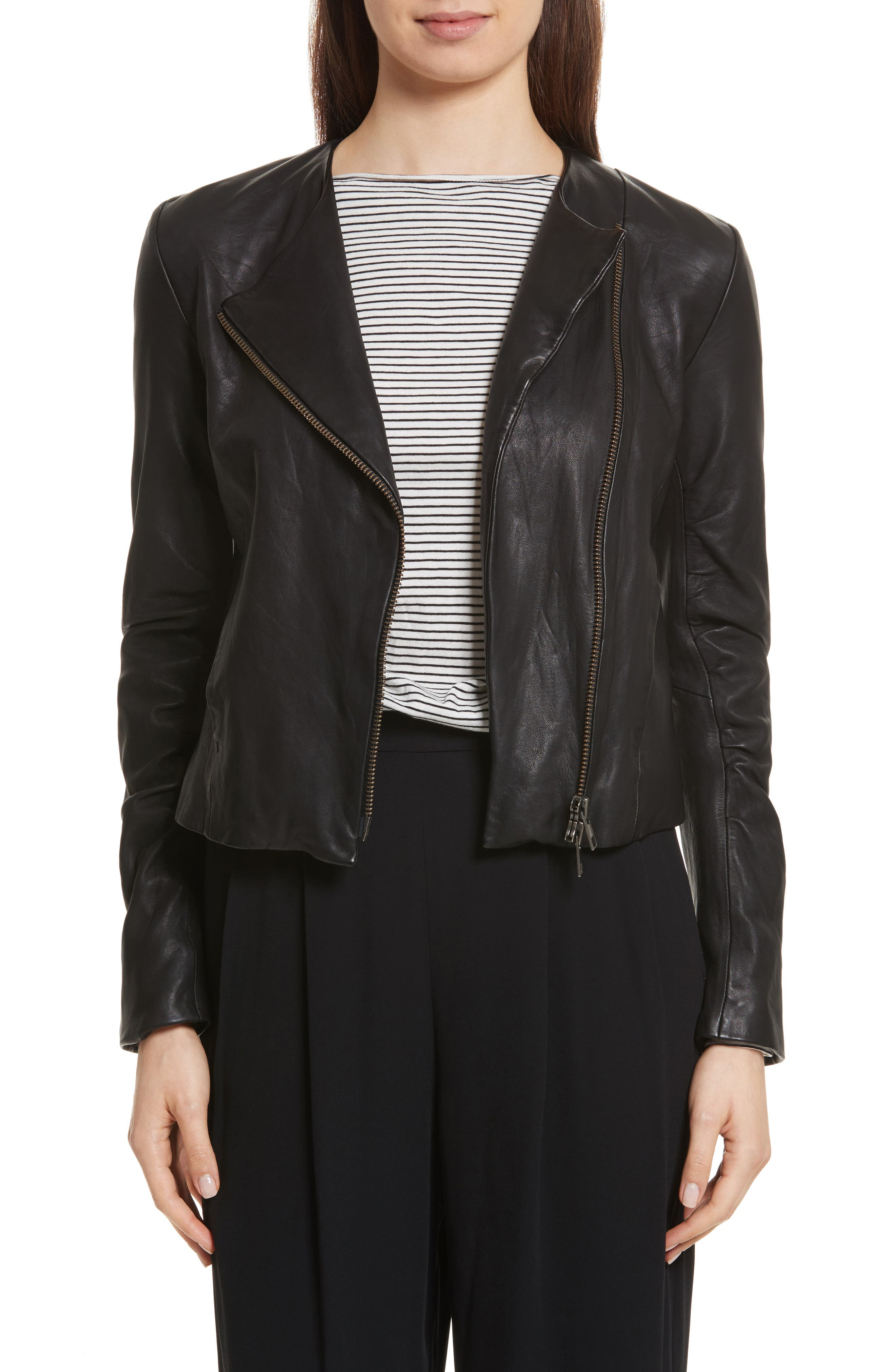Cross Front Leather Jacket,                         Main,                         color, BLACK