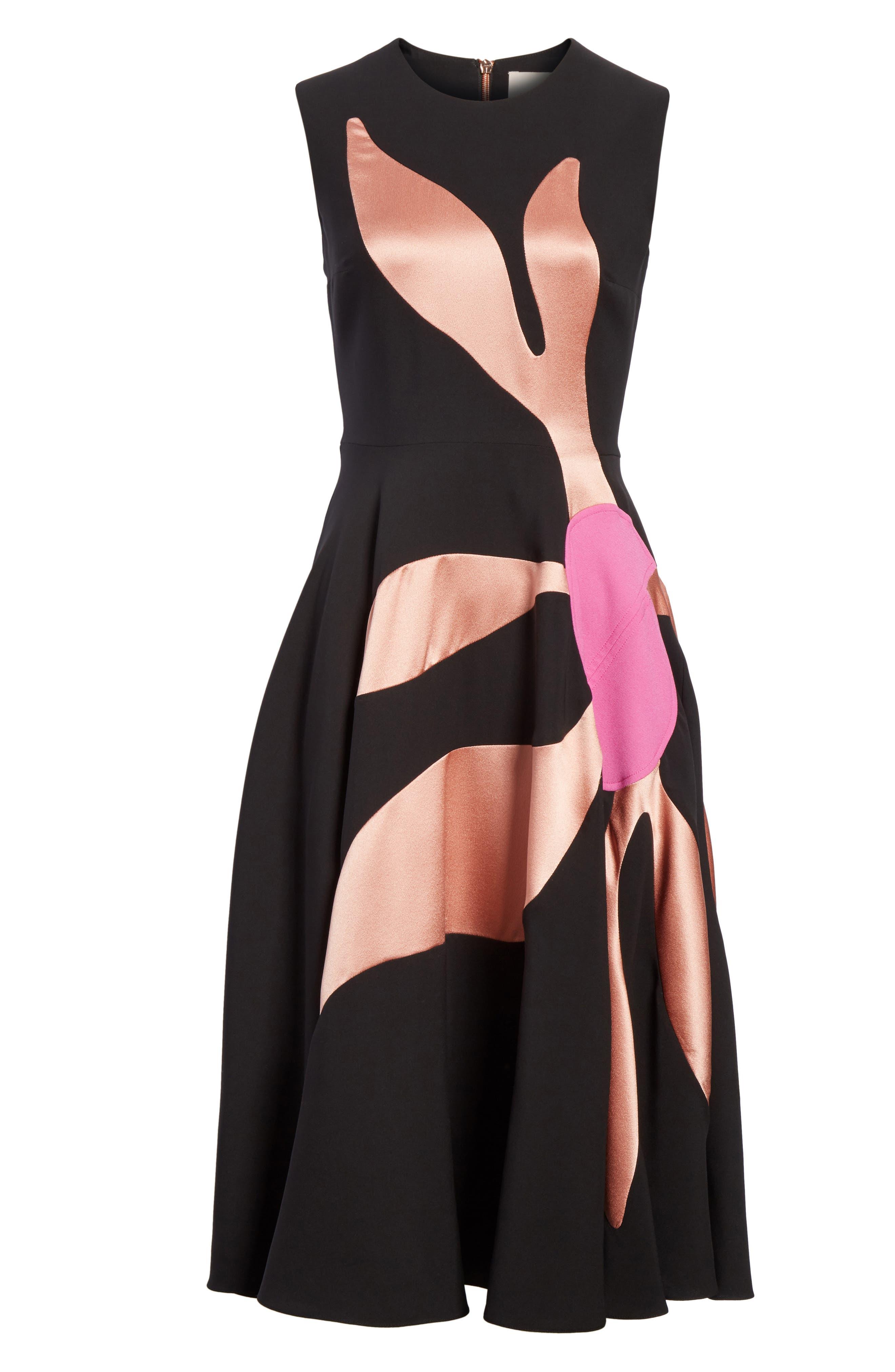 Ilia Floral Inlay Silk Blend Dress,                             Alternate thumbnail 6, color,                             001