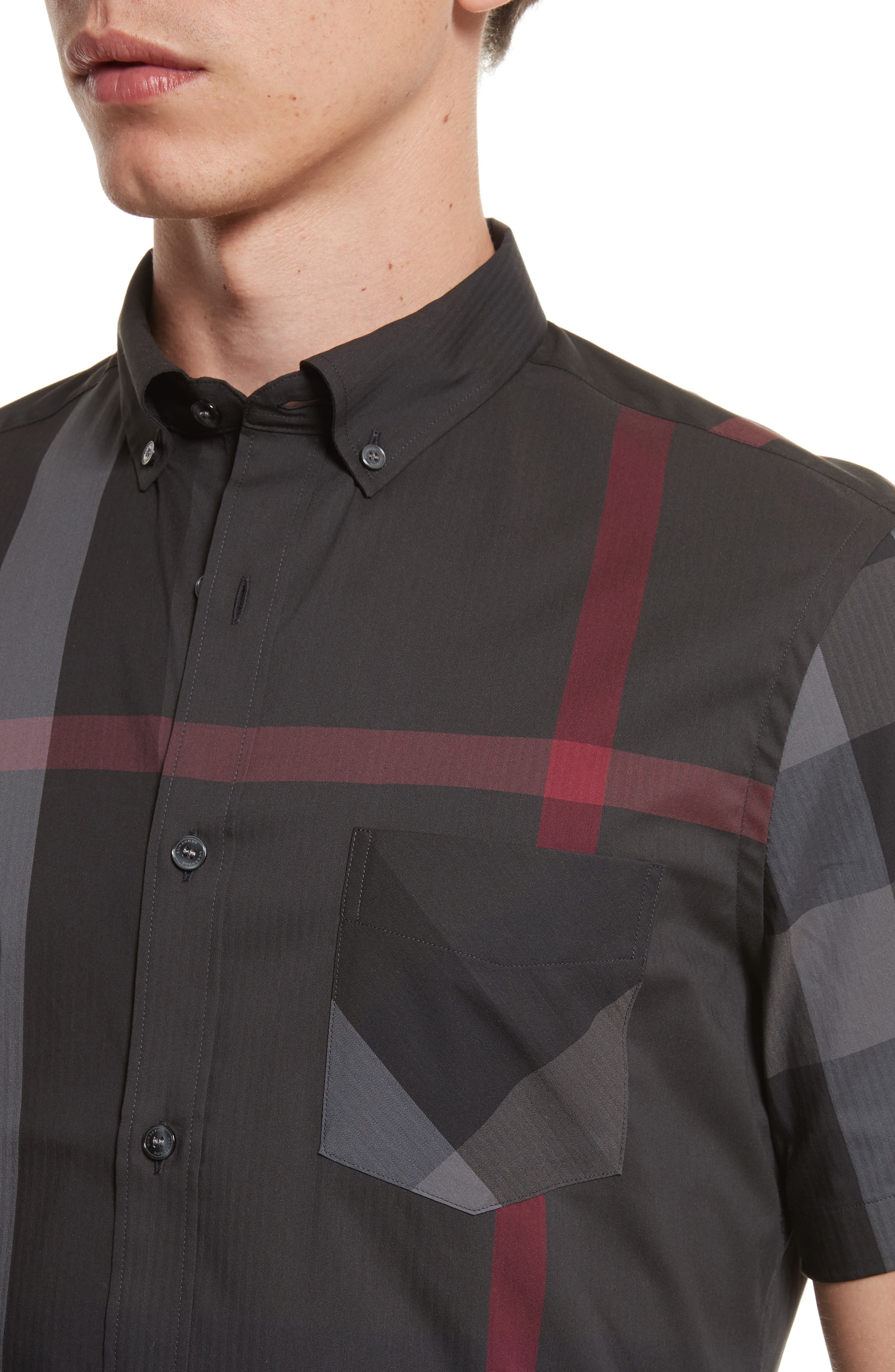 BURBERRY,                             Thornaby Trim Fit Check Sport Shirt,                             Alternate thumbnail 4, color,                             026