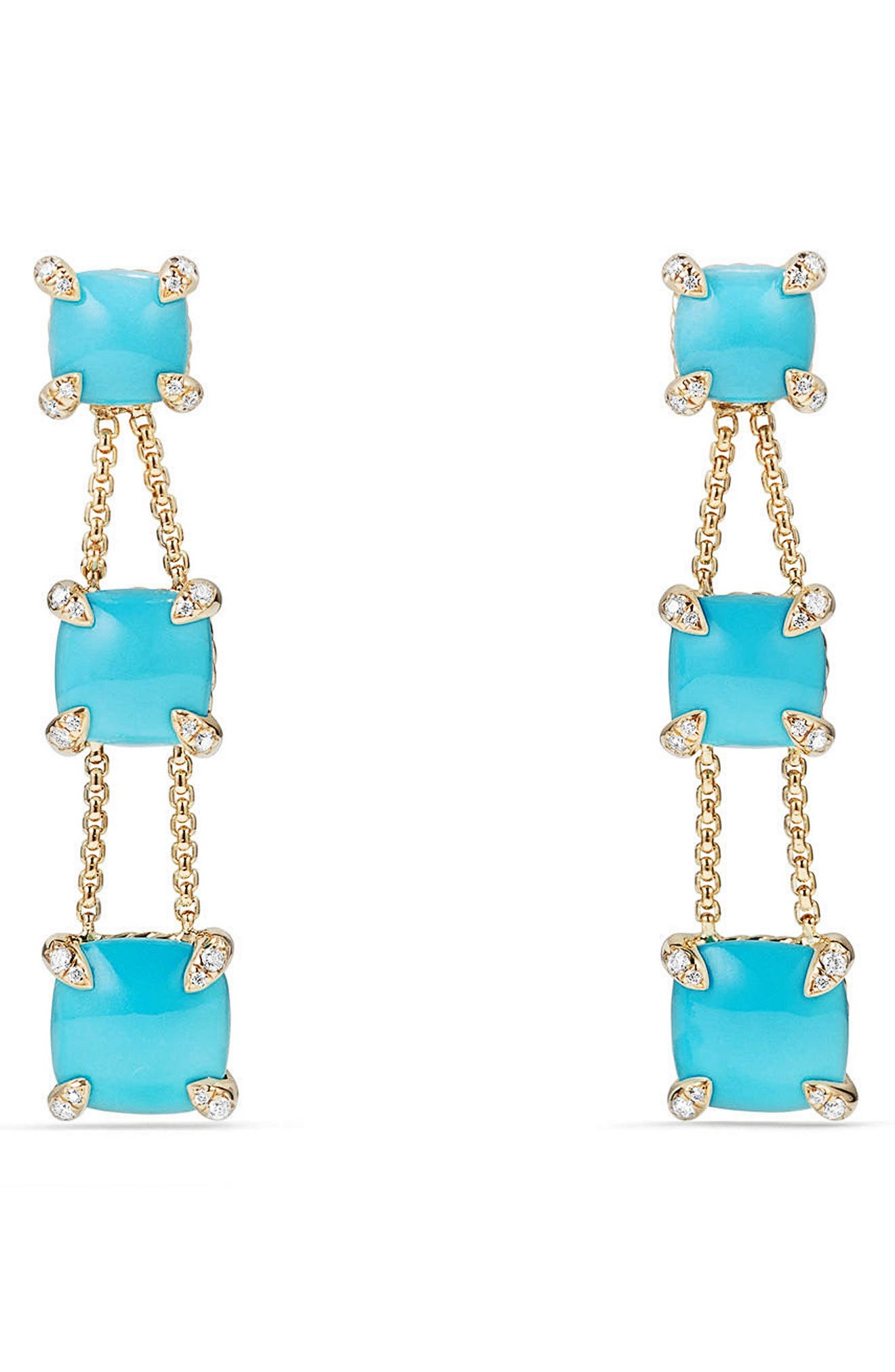 Châtelaine Linear Chain Earrings in 18K Gold with Semiprecious Stone and Diamonds,                         Main,                         color, TURQUOISE