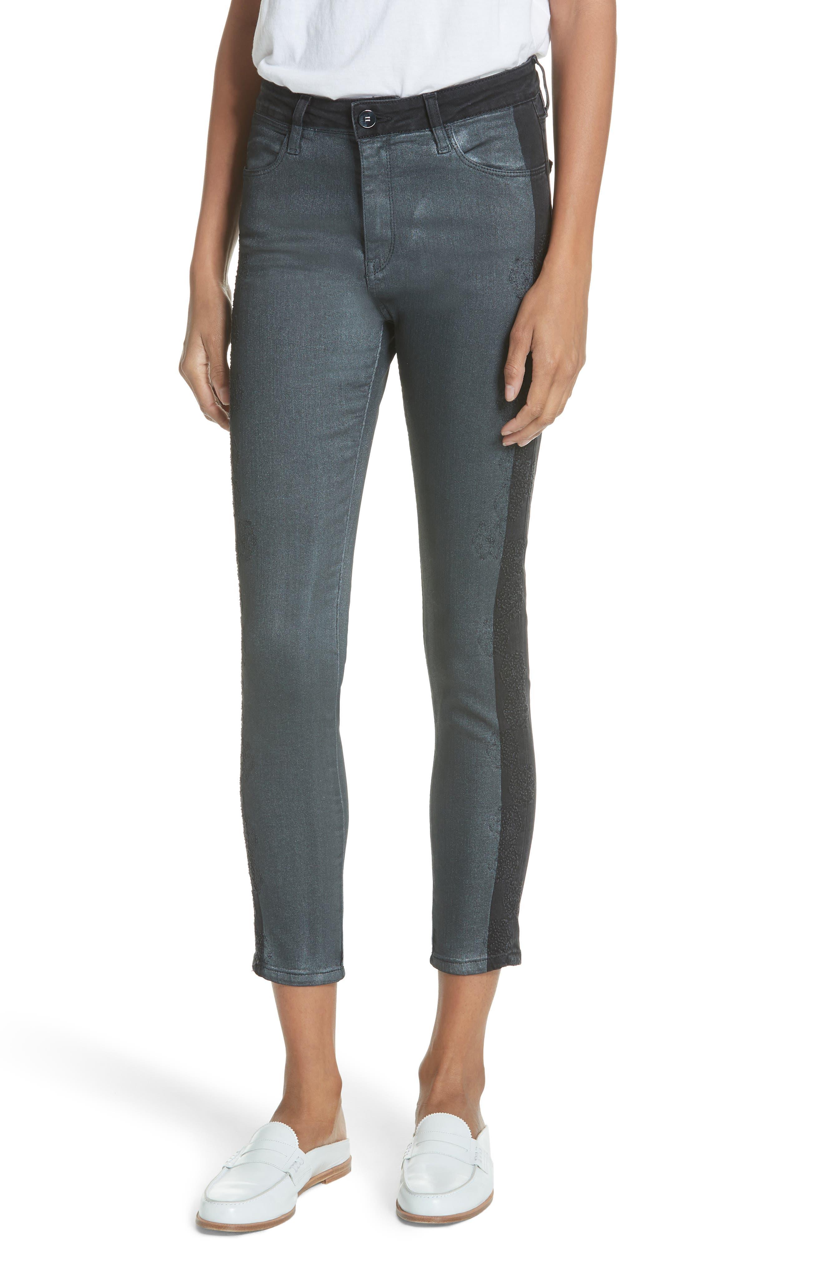 BROCKEN BOW Tuxedo Stripe Glitter Skinny Jeans in Black Glitter